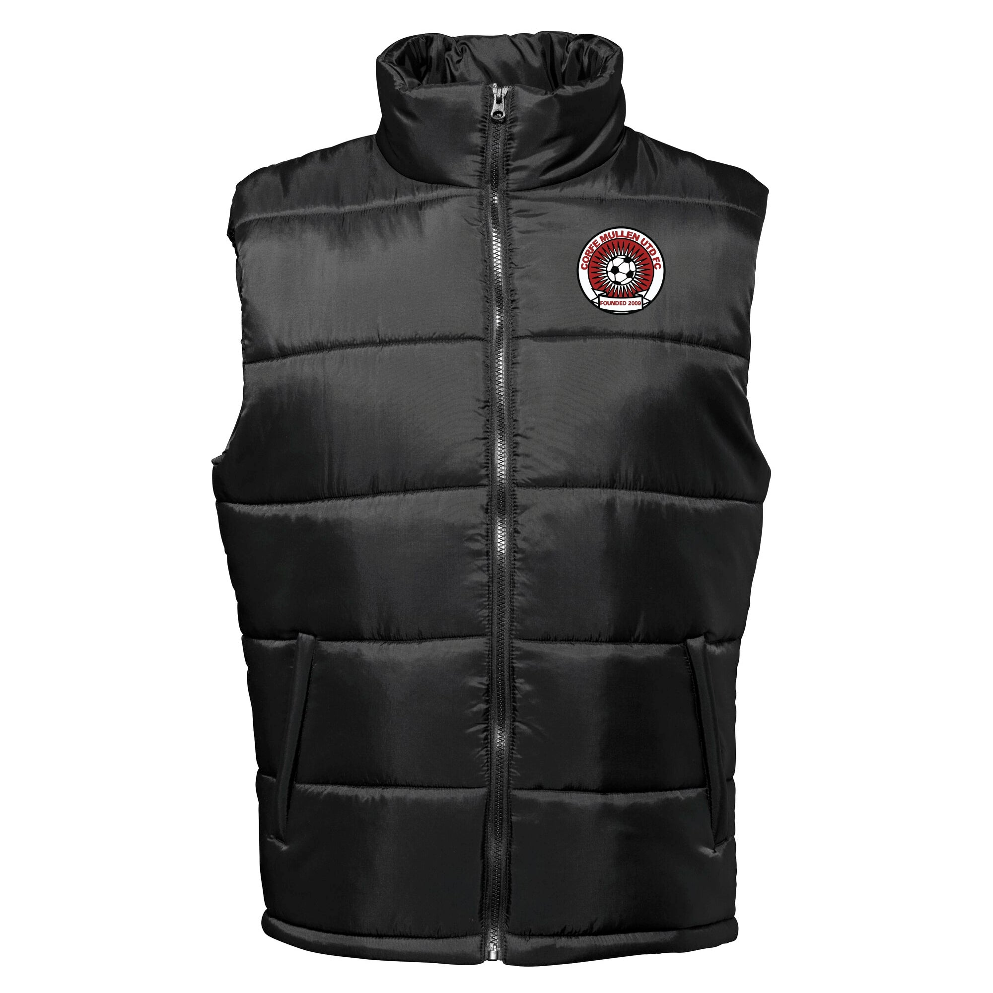 Corfe Mullen United FC Body warmer in black with club badge.