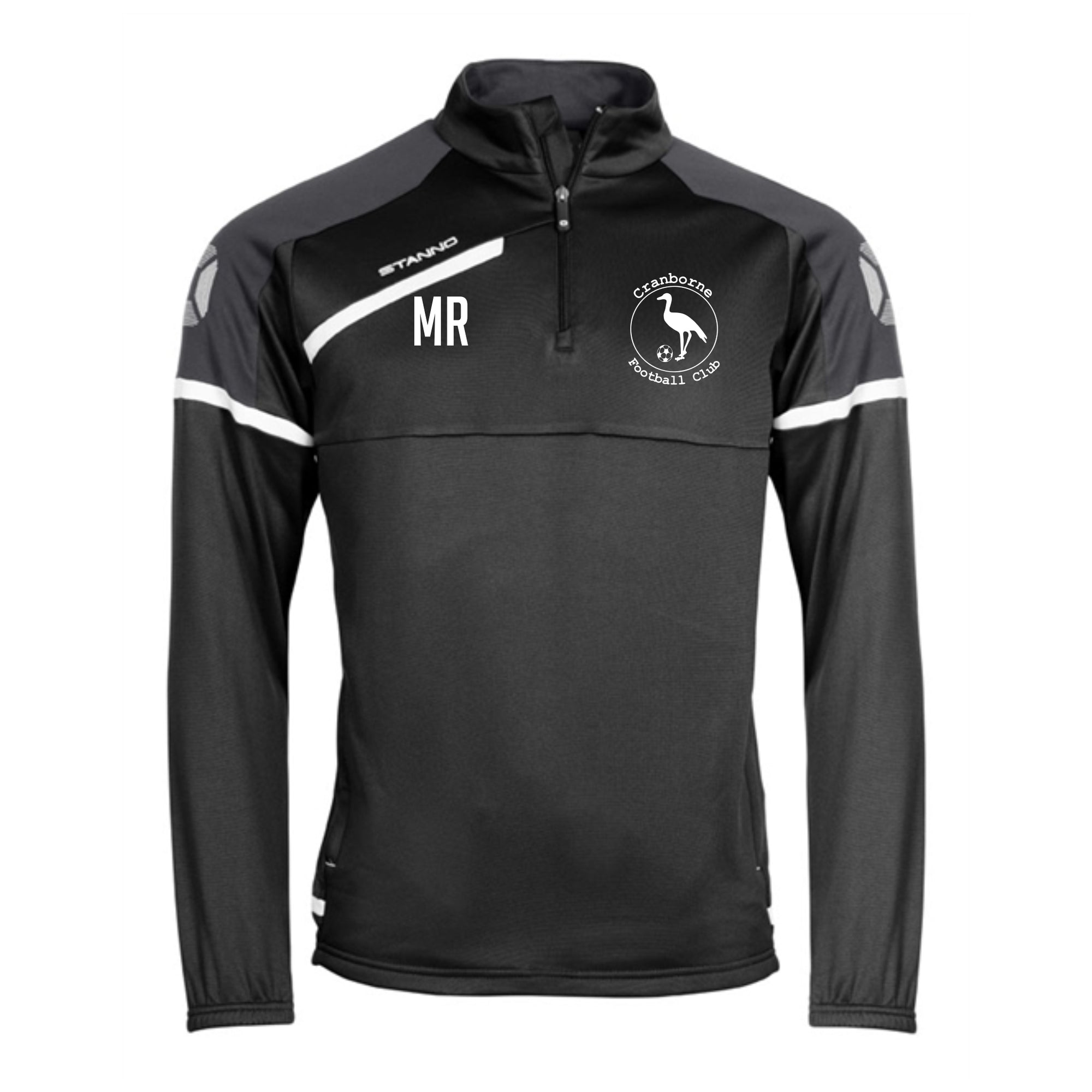Cranborne FC Stanno Prestige Top Half Zip in Black with embroidered club badge