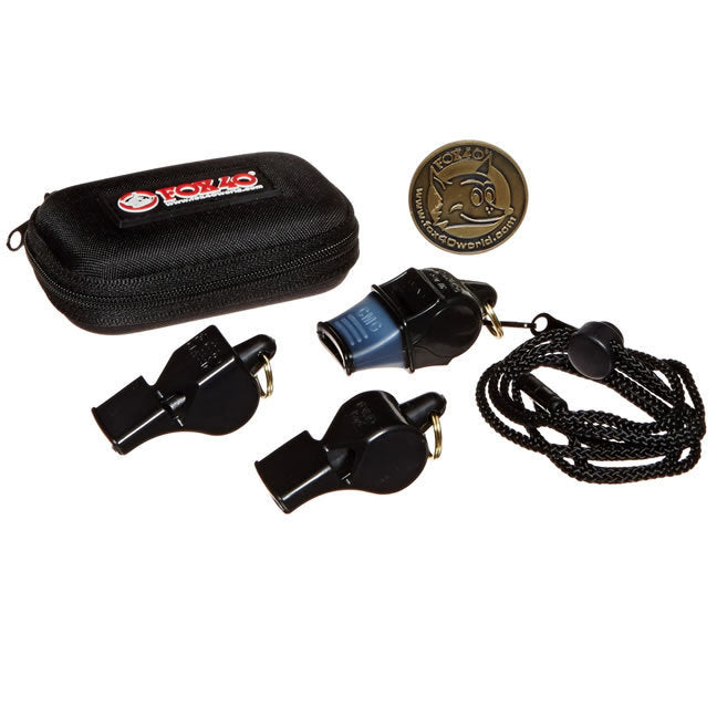 Fox 40 3-Pack whistles, lanyards and carry case
