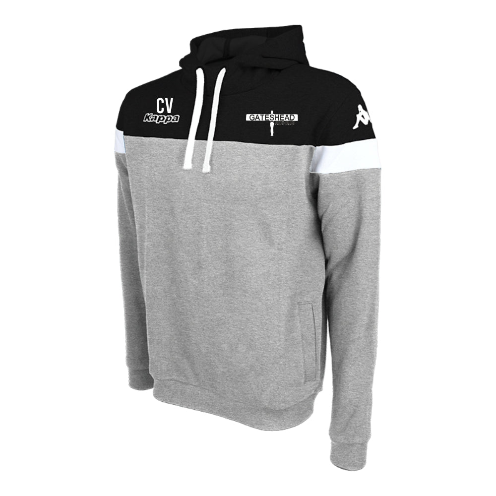 Gateshead Judo Club - Kappa Accio Hoody Fleece Sweat - Grey Mel/Black/White
