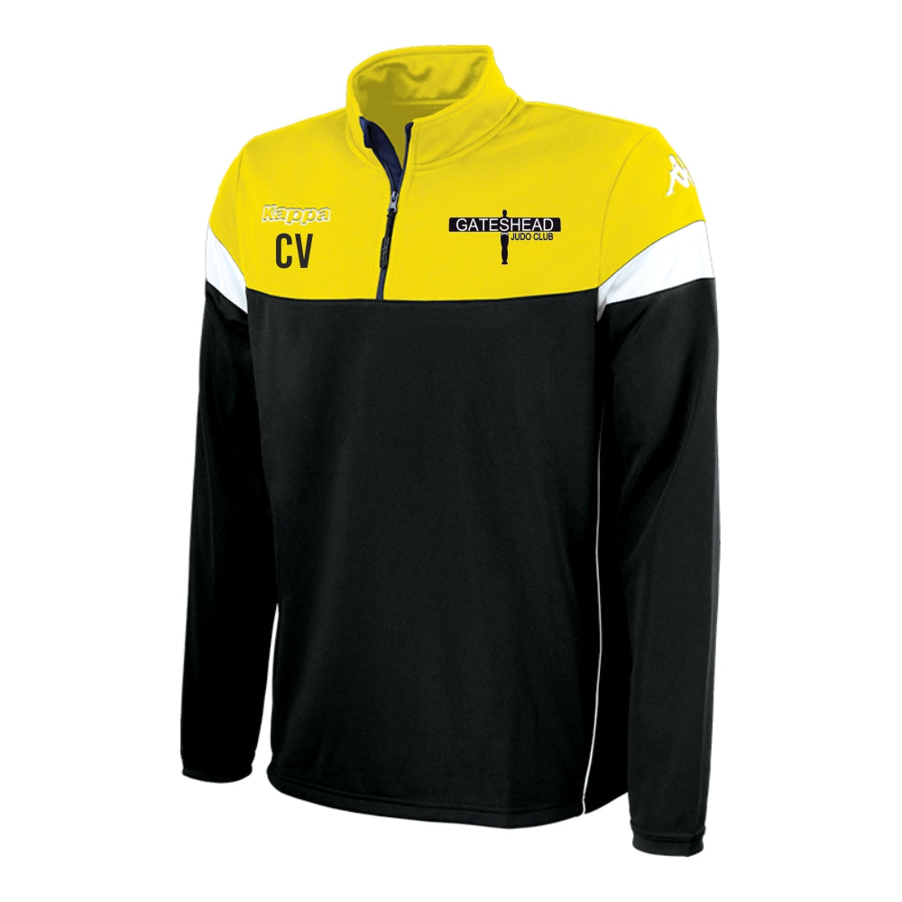 Gateshead Judo Club - Kappa Novare Training Sweat 1/4 Zip - Black/Yellow/White