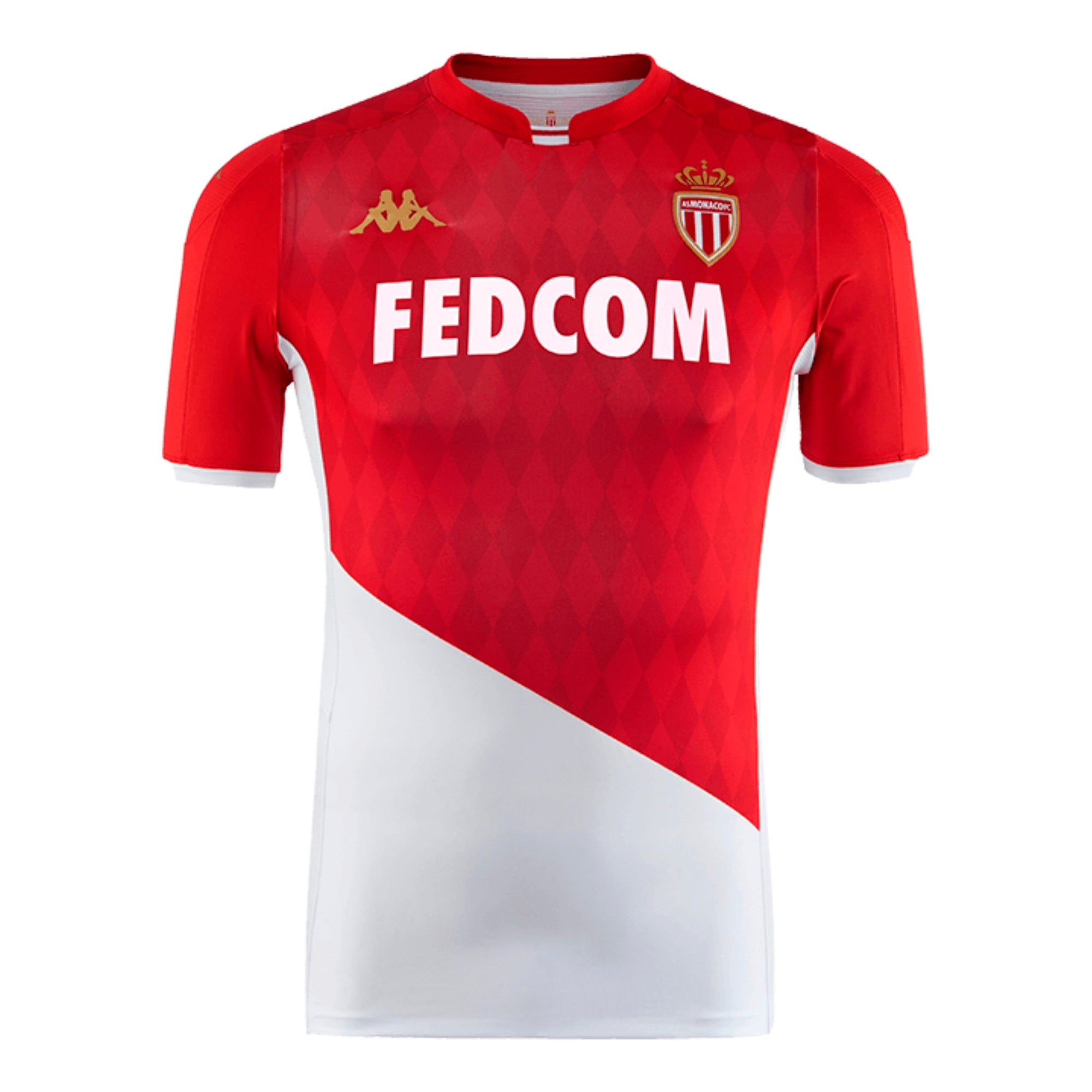 AS Monaco Professional level home shirt in short sleeve. Red top with white bottom and FEDCOM white sponsor logo on the chest.