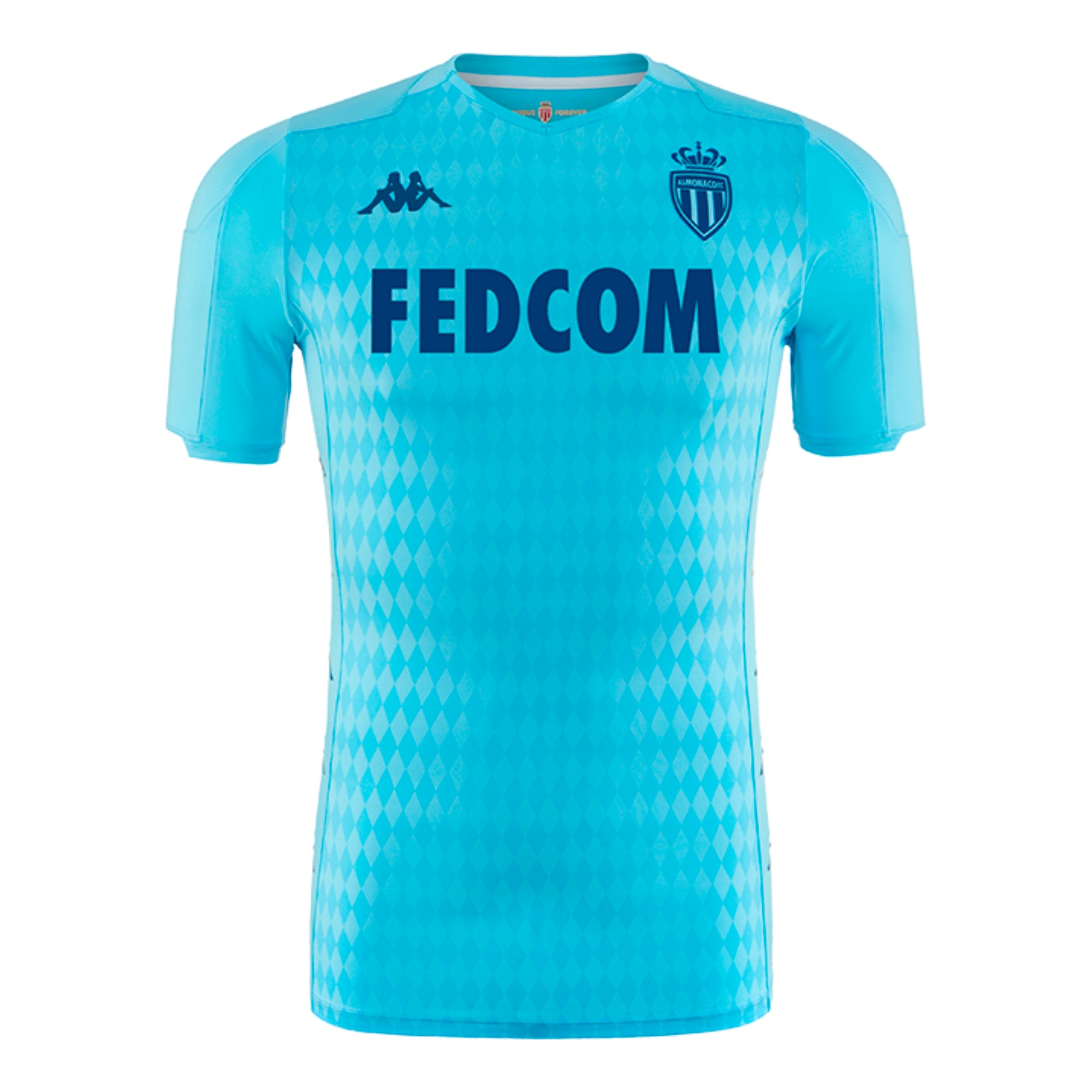 AS Monaco professional level third shirt in sky blue with subtle toned patterned design in the main body. Dark blue Kappa, AS Monaco and FEDCOM sponsor logo on the chest.