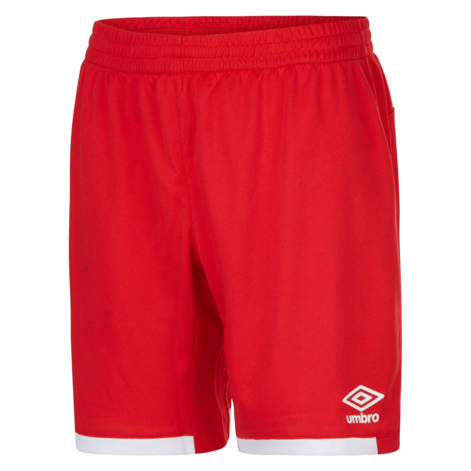 Red umbro premier shorts with contrast white hems