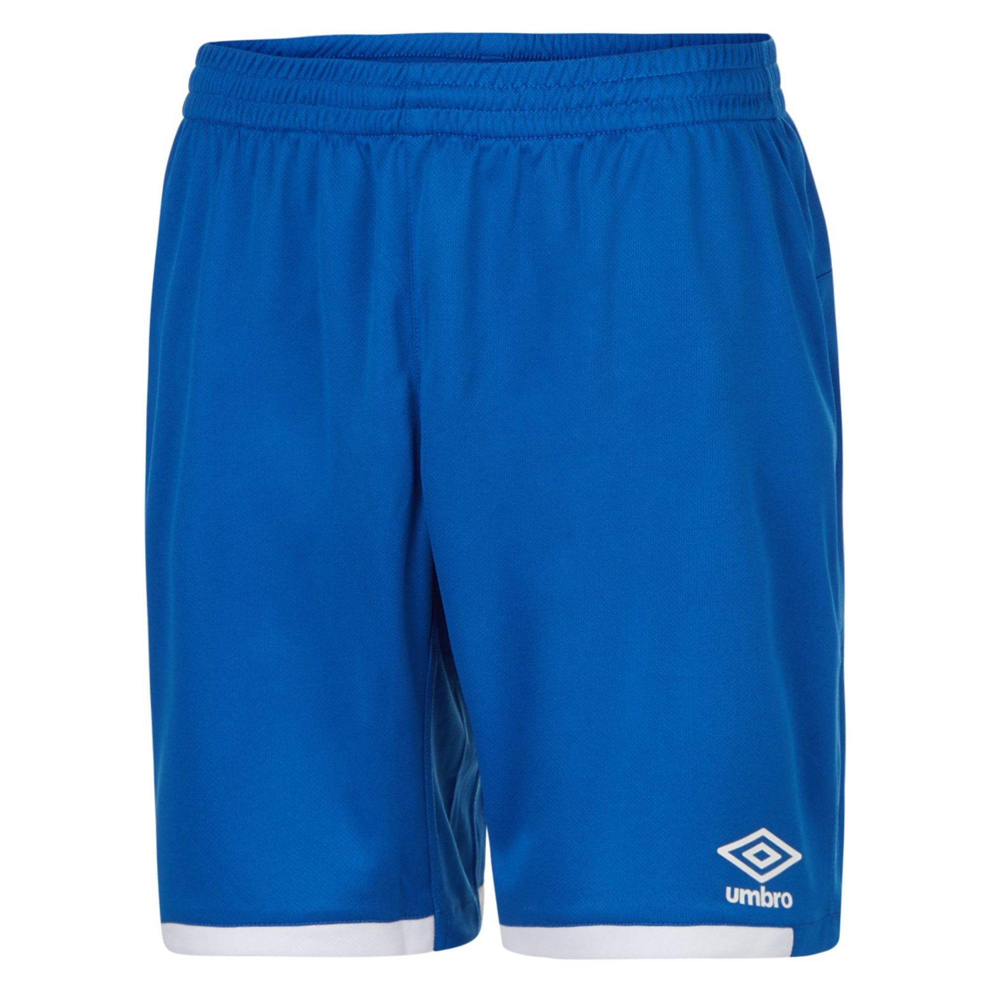 royal blue umbro premier shorts with white contrast hem