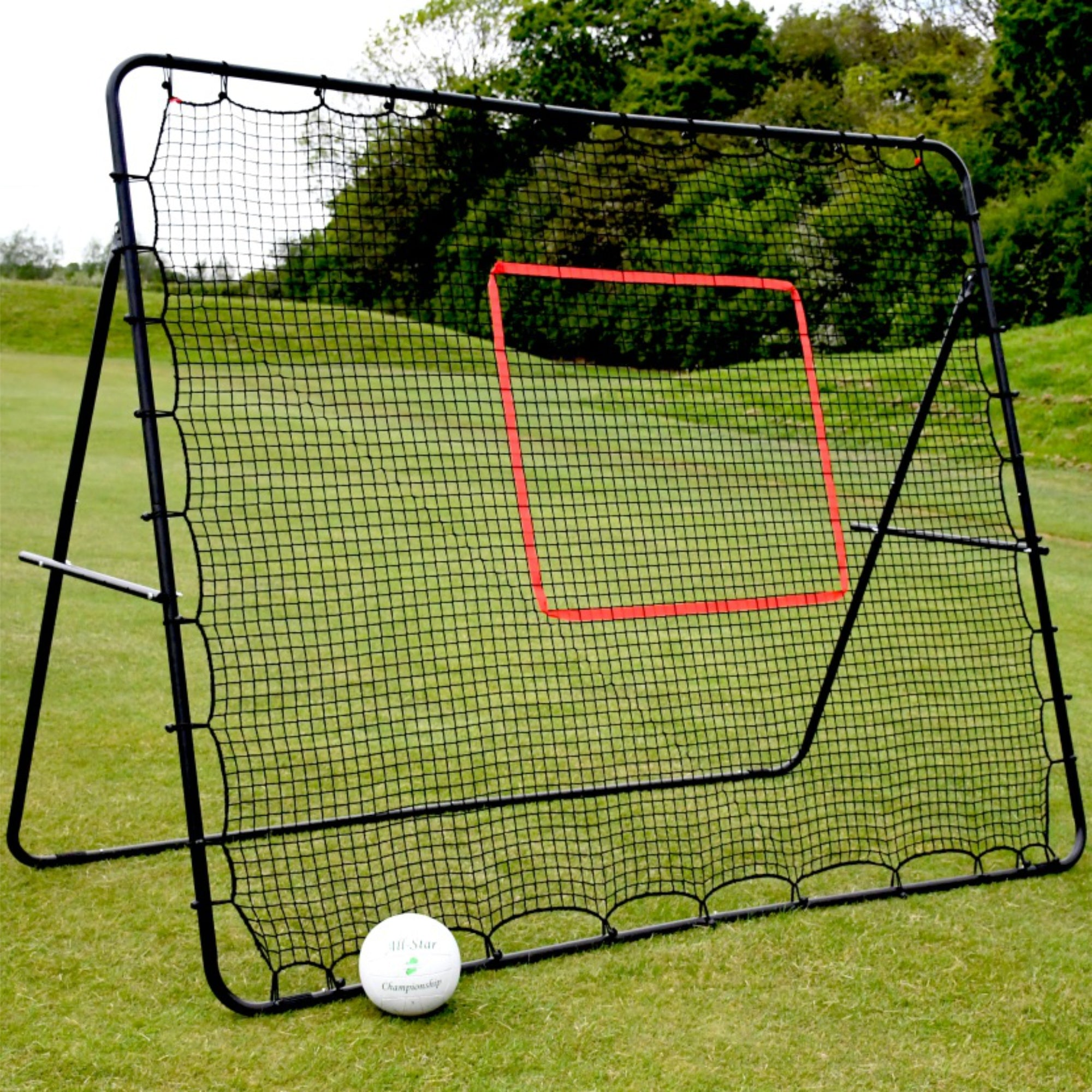 Black steel frame large rebounder with red taped target zone in middle
