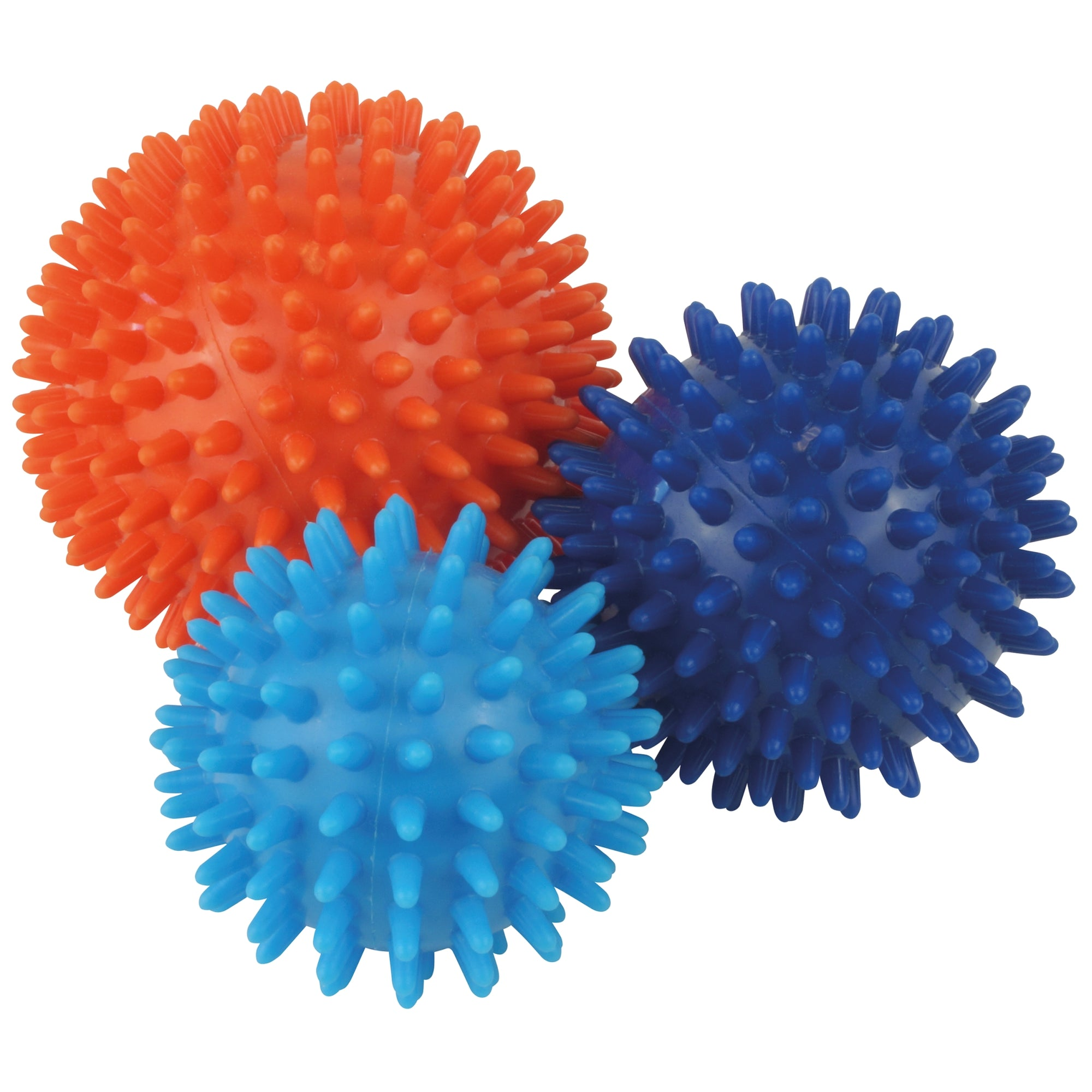UFE Spiky Massage Balls Set. Large red ball, dark blue mid size and small light blue spiky ball
