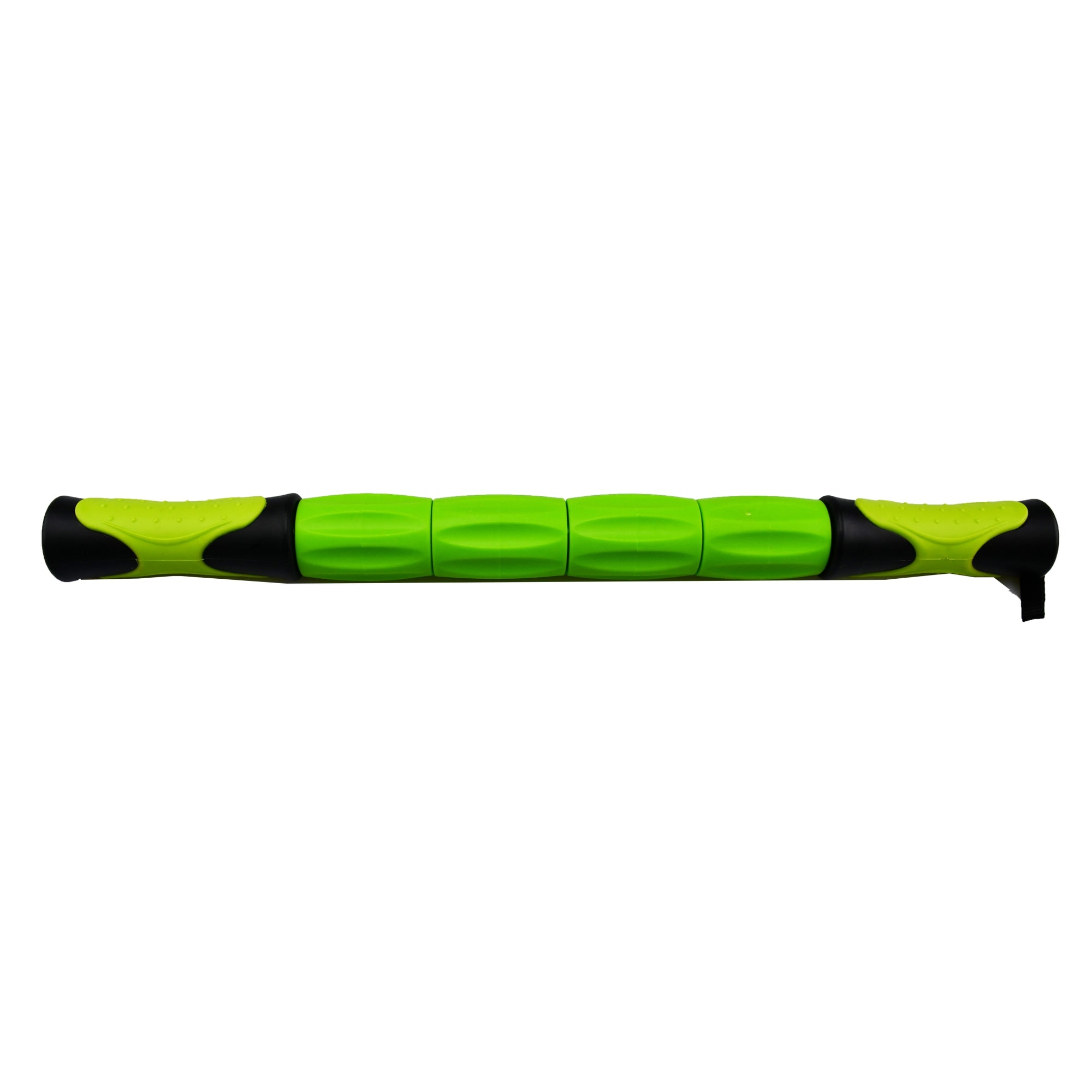 UFE MAssage Stick with green and black easy grip handles, and 4 independent green rollers in the middle of the stick