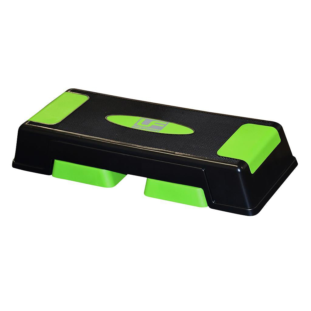 UFE Adjustable Aerobic Step in black with bright green detailing