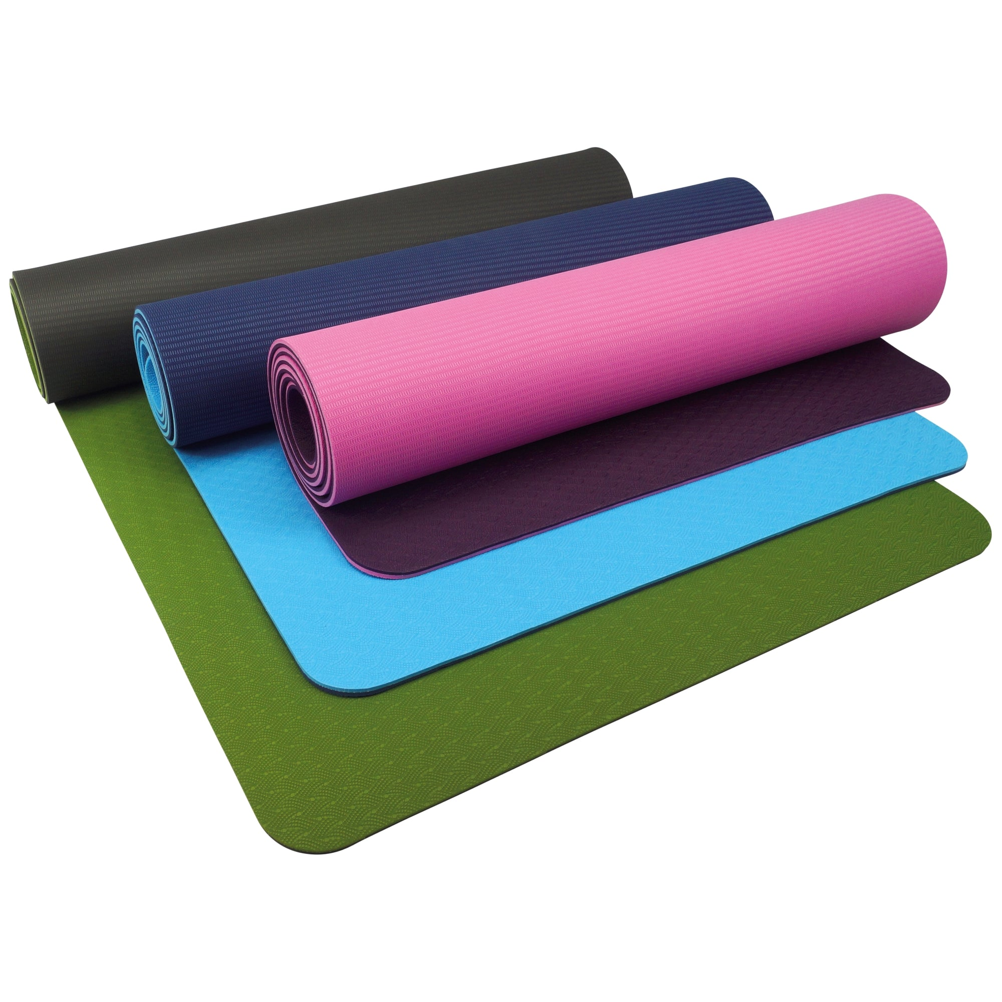 UFE 6mm TPE Yoga Mats laid on top of one another with contrast top to bottom in 3 different colour variations; sky/navy, mulberry/pink and olive/charcoal
