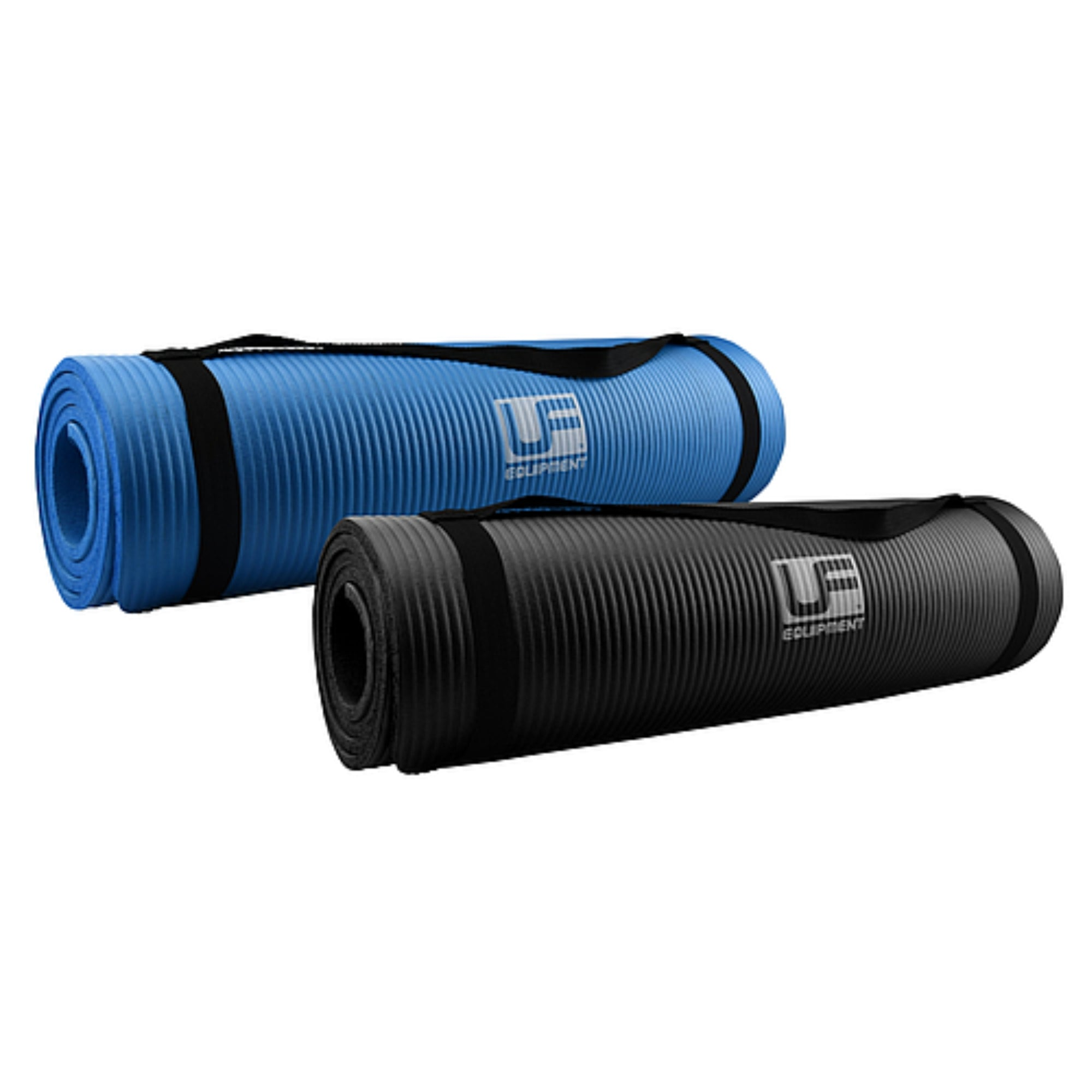 UFM110 UFE NBR Fitness Mats rolled up in blue and black