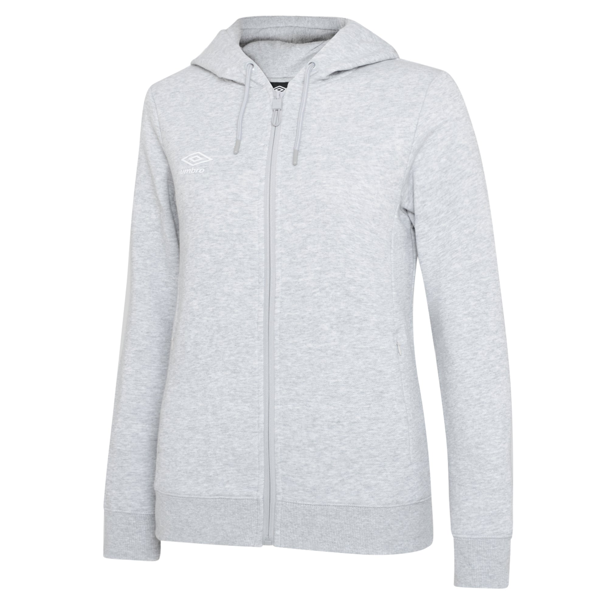 Umbro Club Leisure Women's Zipped Hoody - Grey Marl/White
