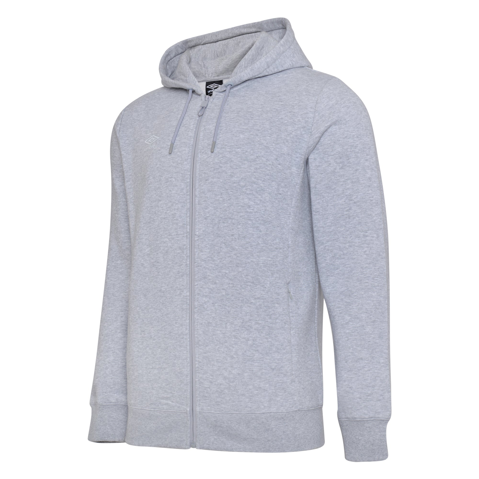 Umbro Club Leisure Zipped Hoody - Grey Marl/White