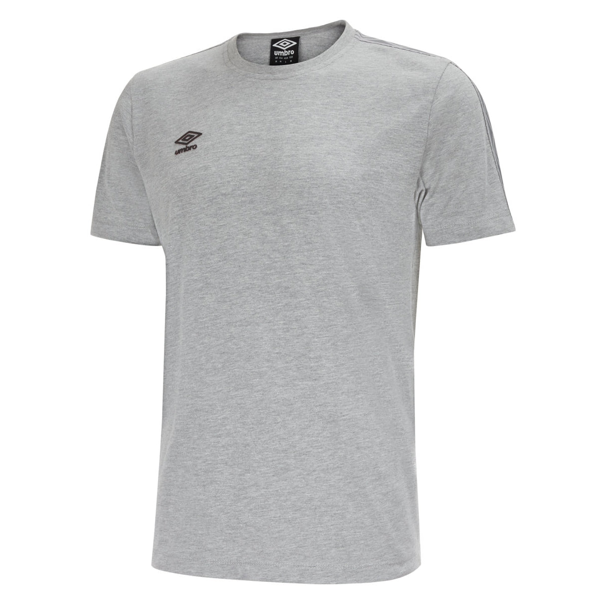 Umbro Pro Taped Tee in grey marl with black Umbro logo on right chest