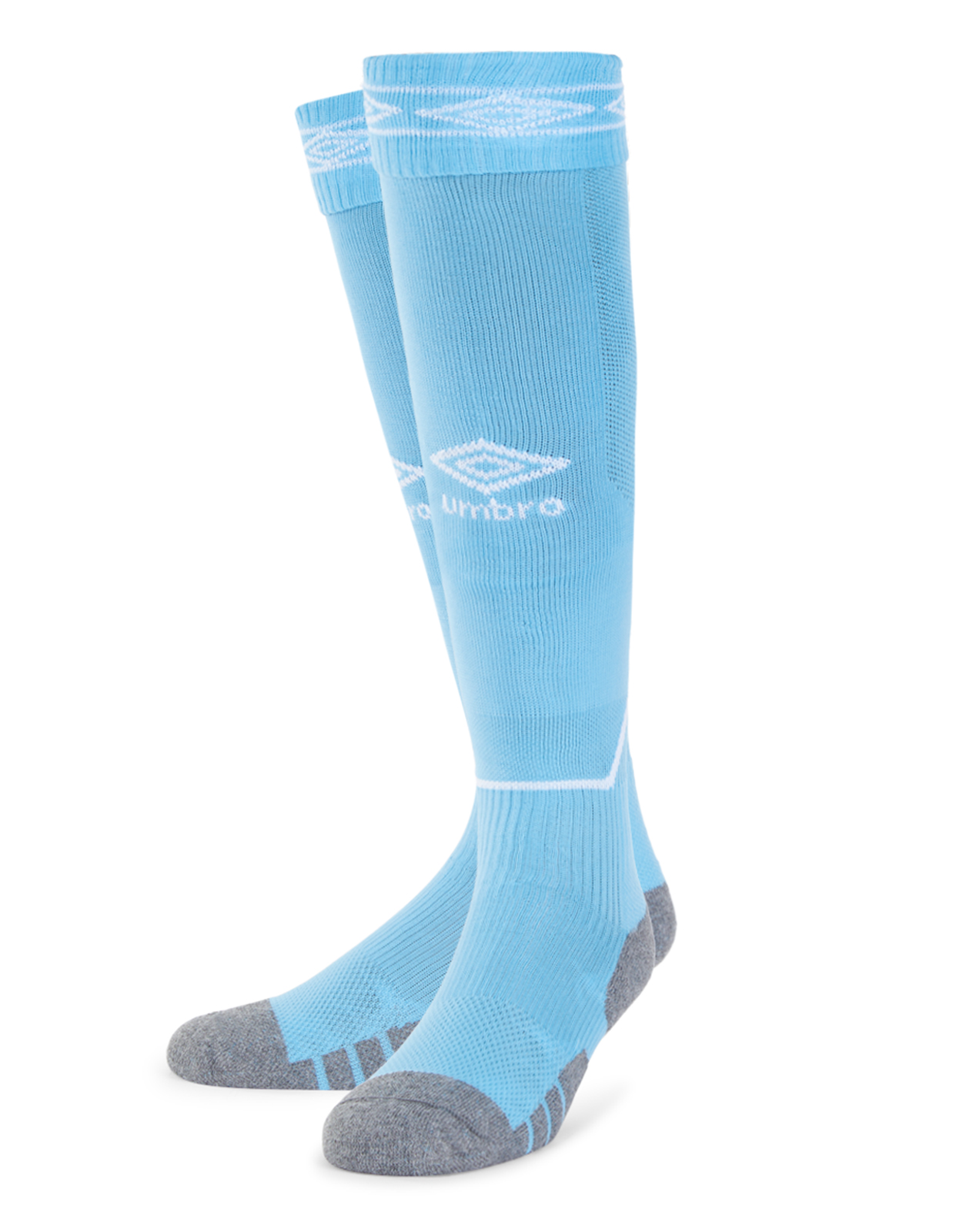 Umbro Diamond Top Socks in sky blue with white Diamond turnover design