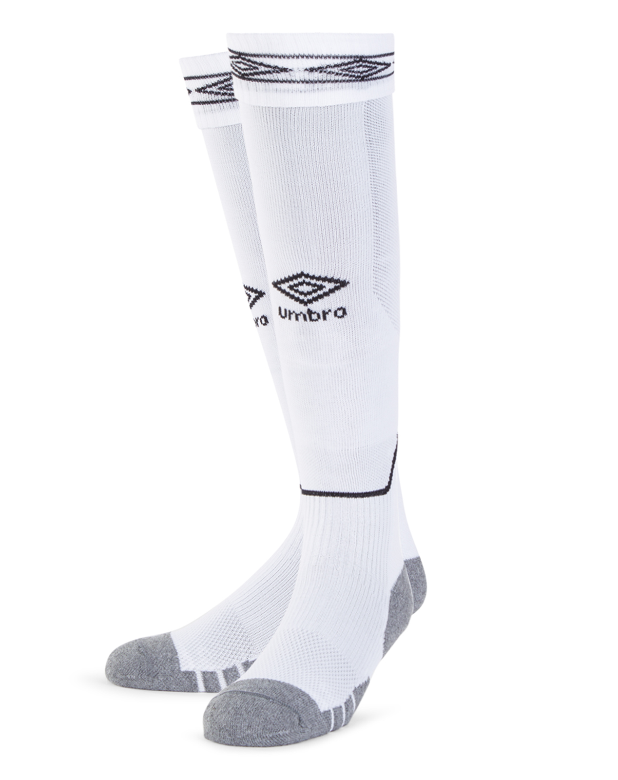 Umbro Diamond Top Socks in white with black Diamond turnover design