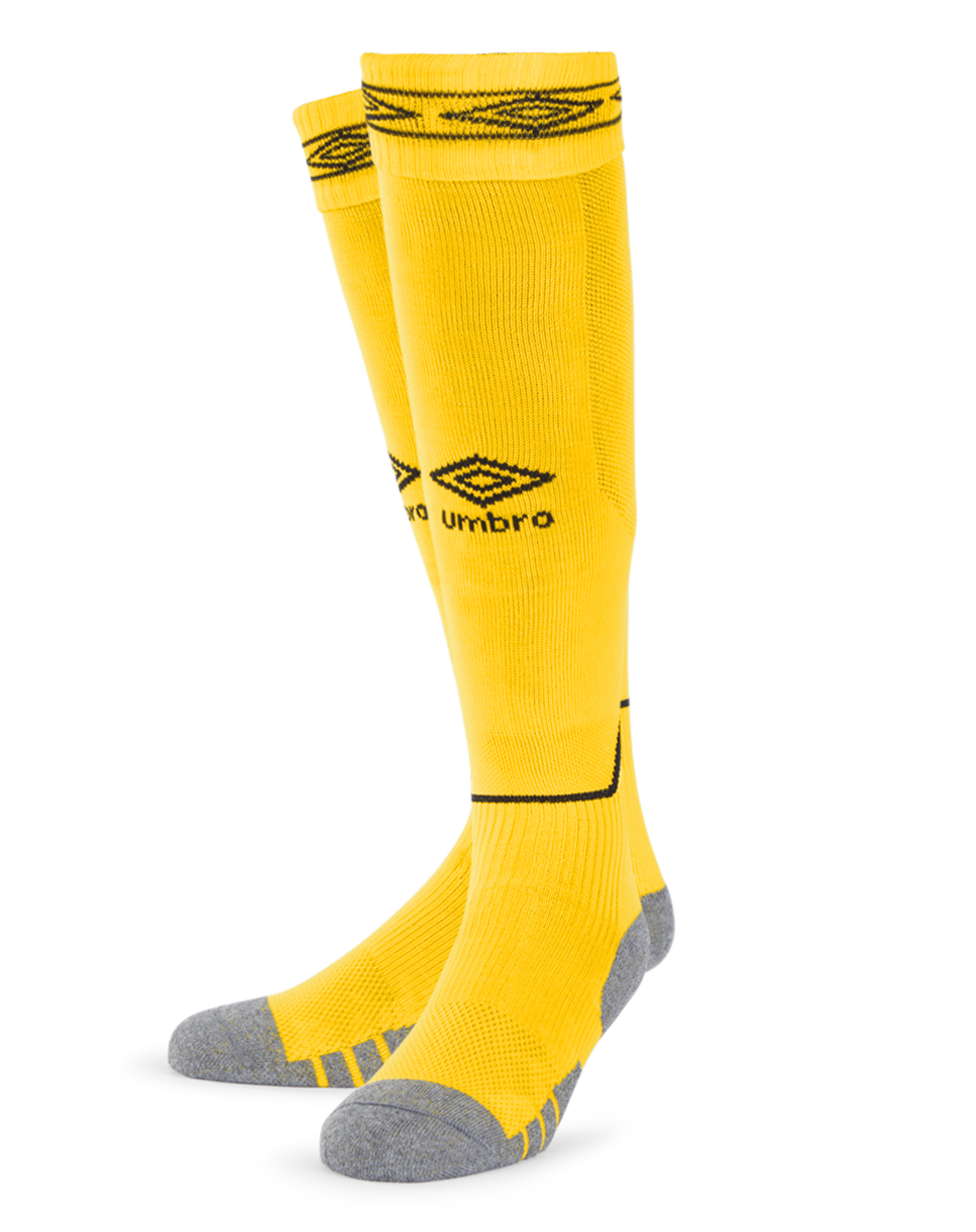 Umbro Diamond Top Socks in yellow with black Diamond turnover design