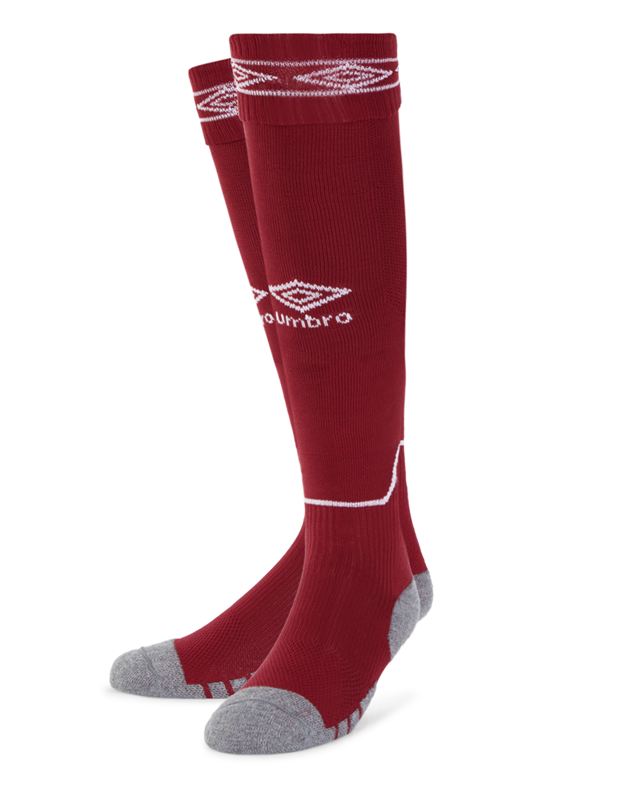 Umbro Diamond Top Socks in new claret with white Diamond turnover design