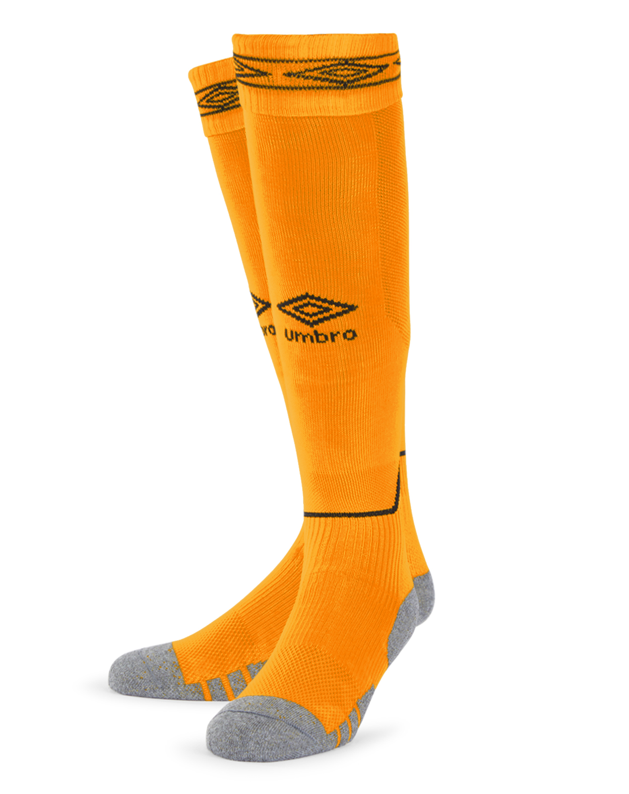 Umbro Diamond Top Socks in amber with black Diamond turnover design
