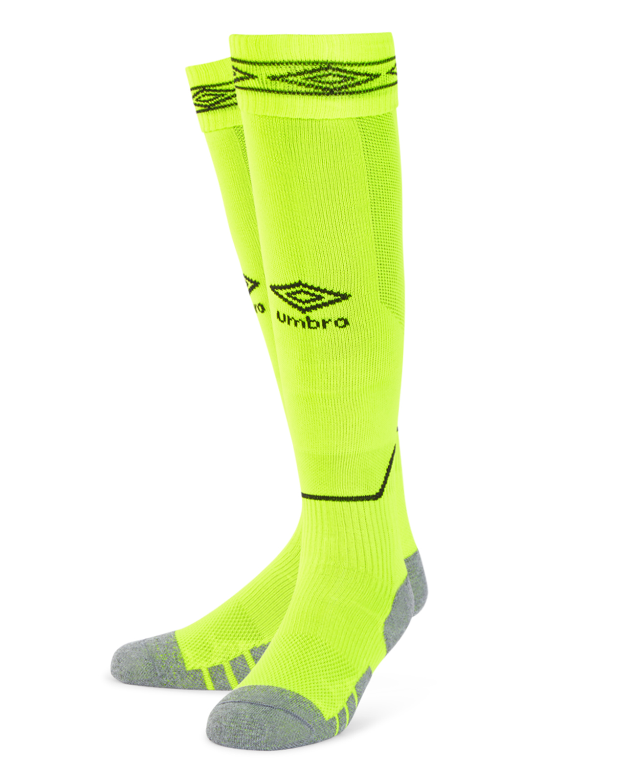 Umbro Diamond Top Socks in safety yellow with carbon Diamond turnover design