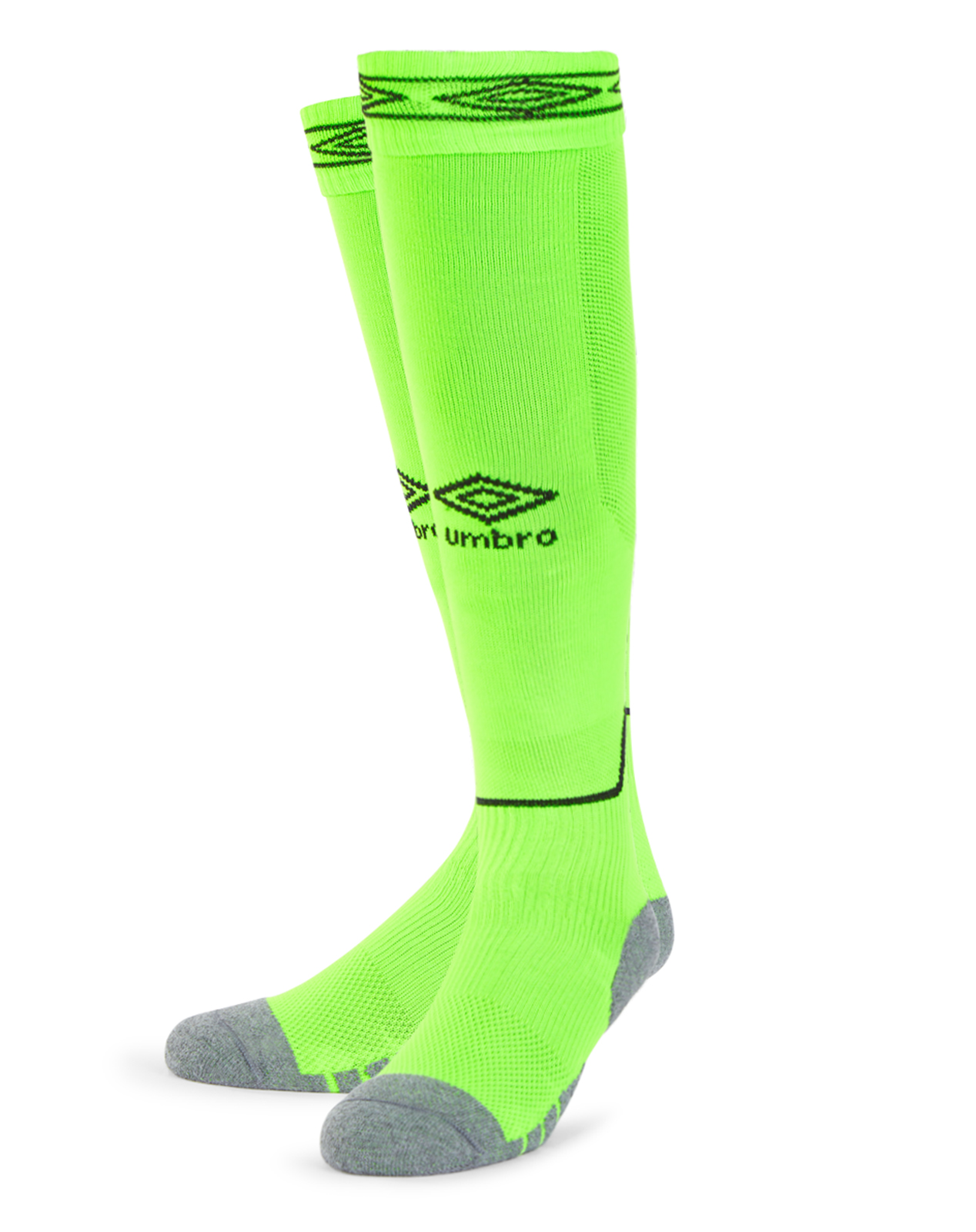 Umbro Classico football sock in gecko green with black Diamond logo on the front