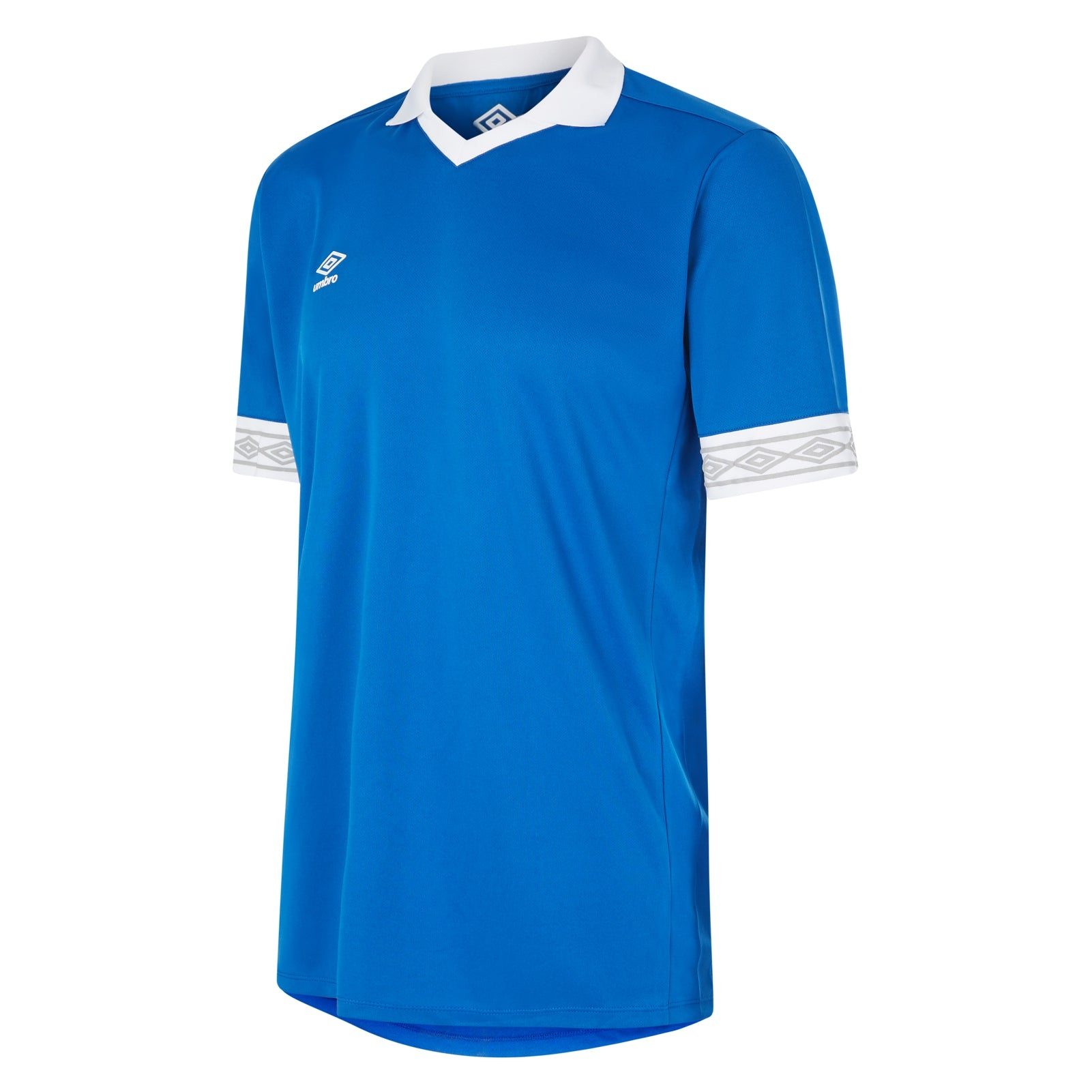 Umbro Tempest jersey short sleeve in royal blue with contrast white collar and cuff
