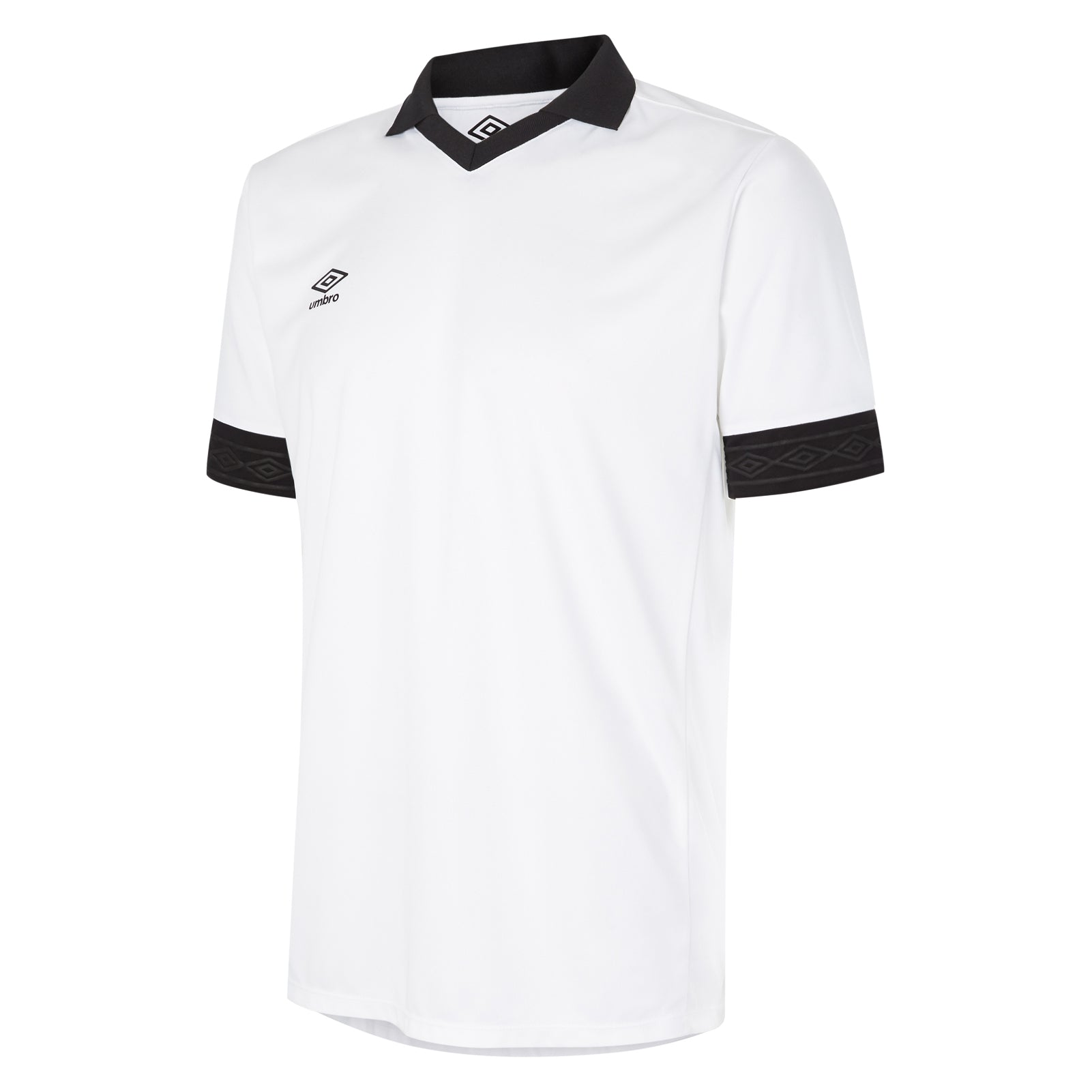 Umbro Tempest jersey short sleeve in white with contrast black collar and cuff