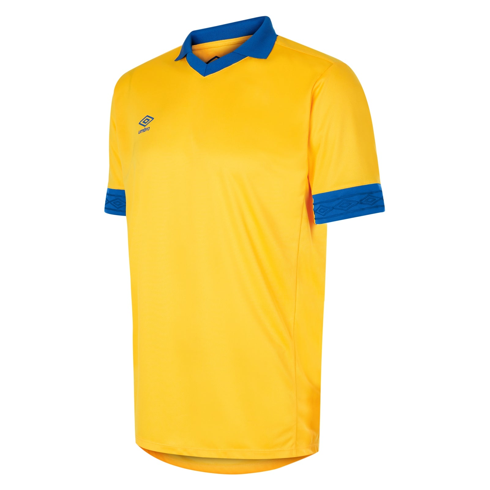 Umbro Tempest jersey short sleeve in yellow with contrast royal blue collar and cuff