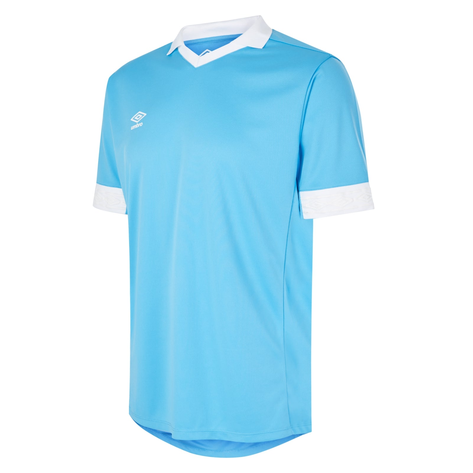 Umbro Tempest jersey short sleeve in sky blue with contrast white collar and cuff