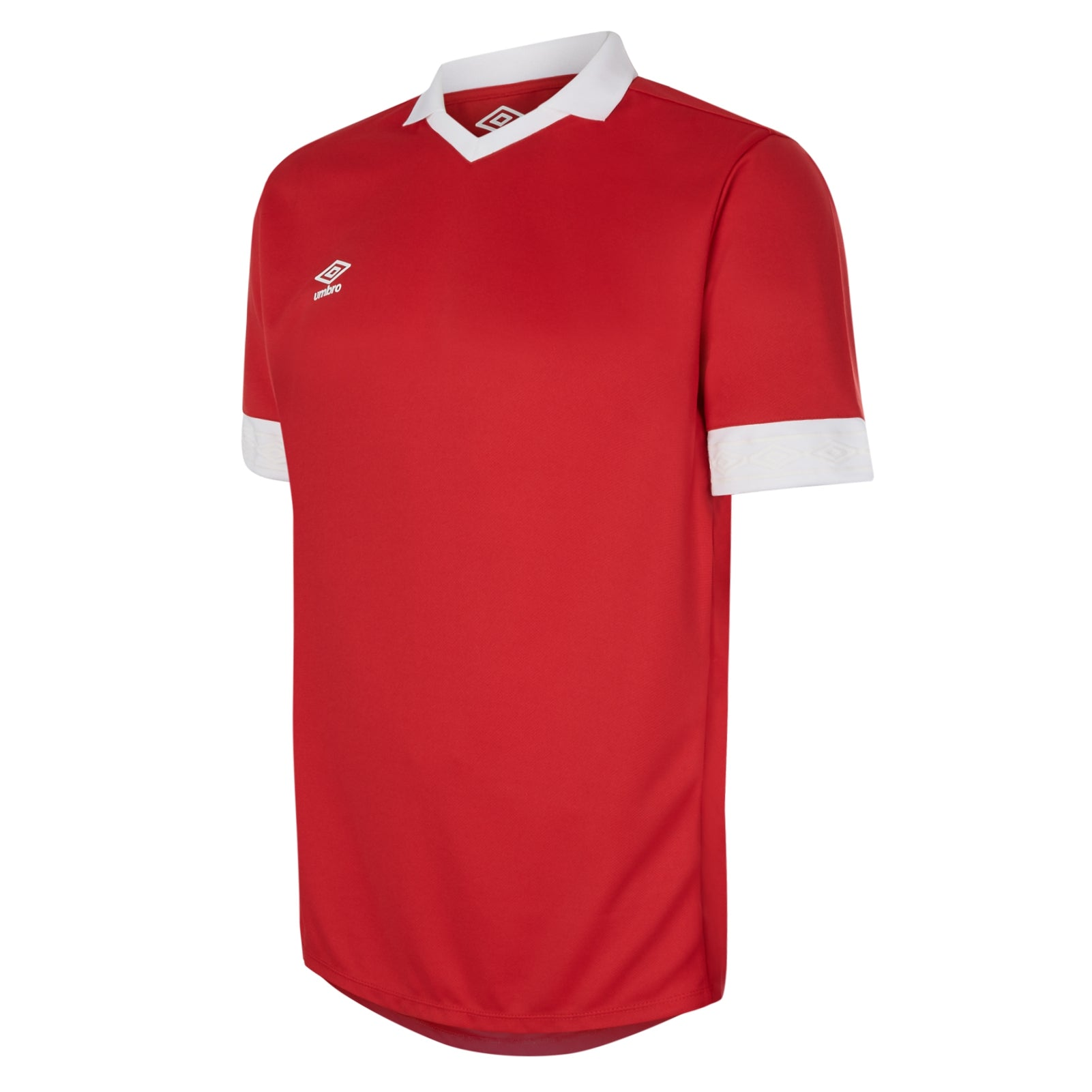 Umbro Tempest jersey short sleeve in red with contrast white collar and cuff