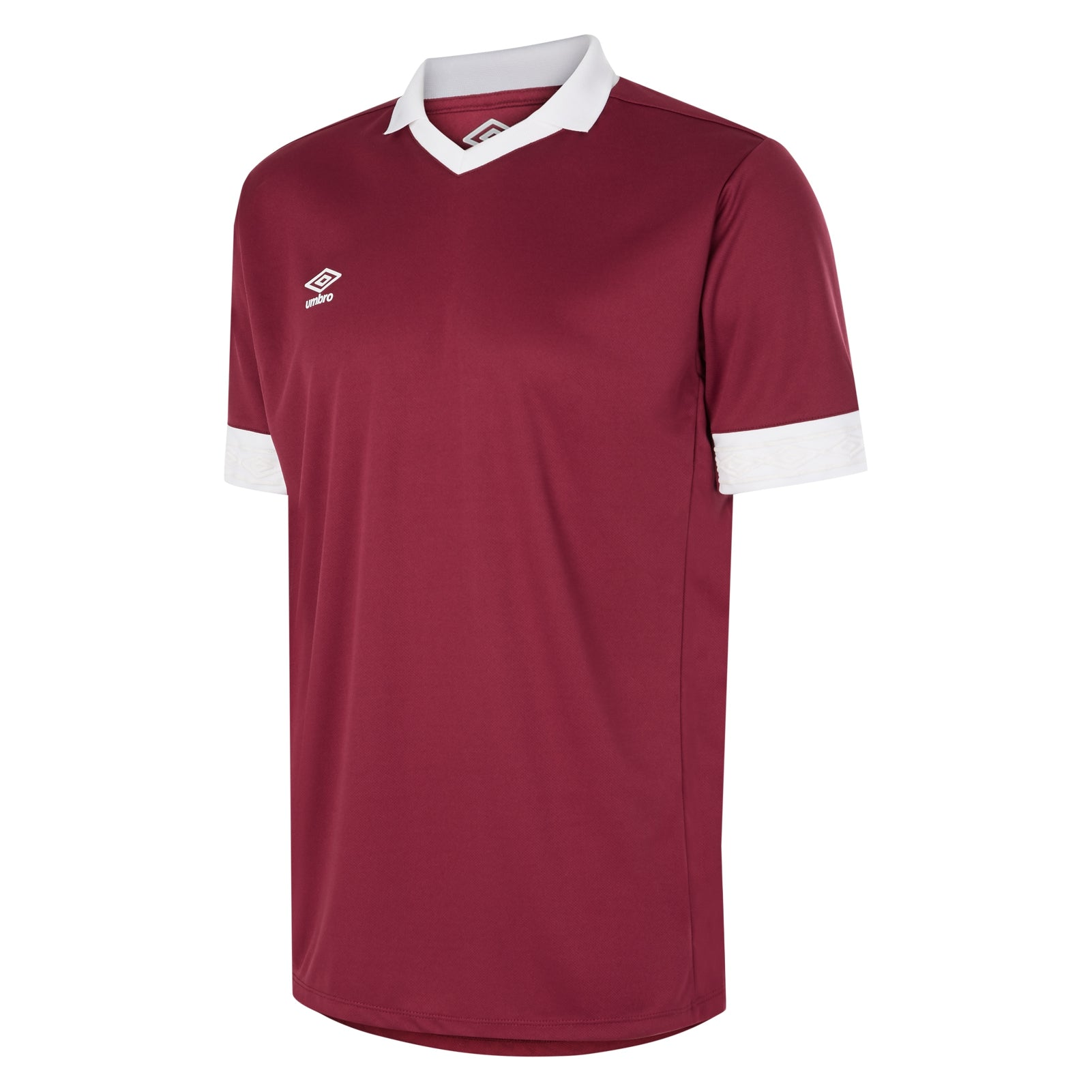Umbro Tempest jersey short sleeve in new claret with contrast white collar and cuff