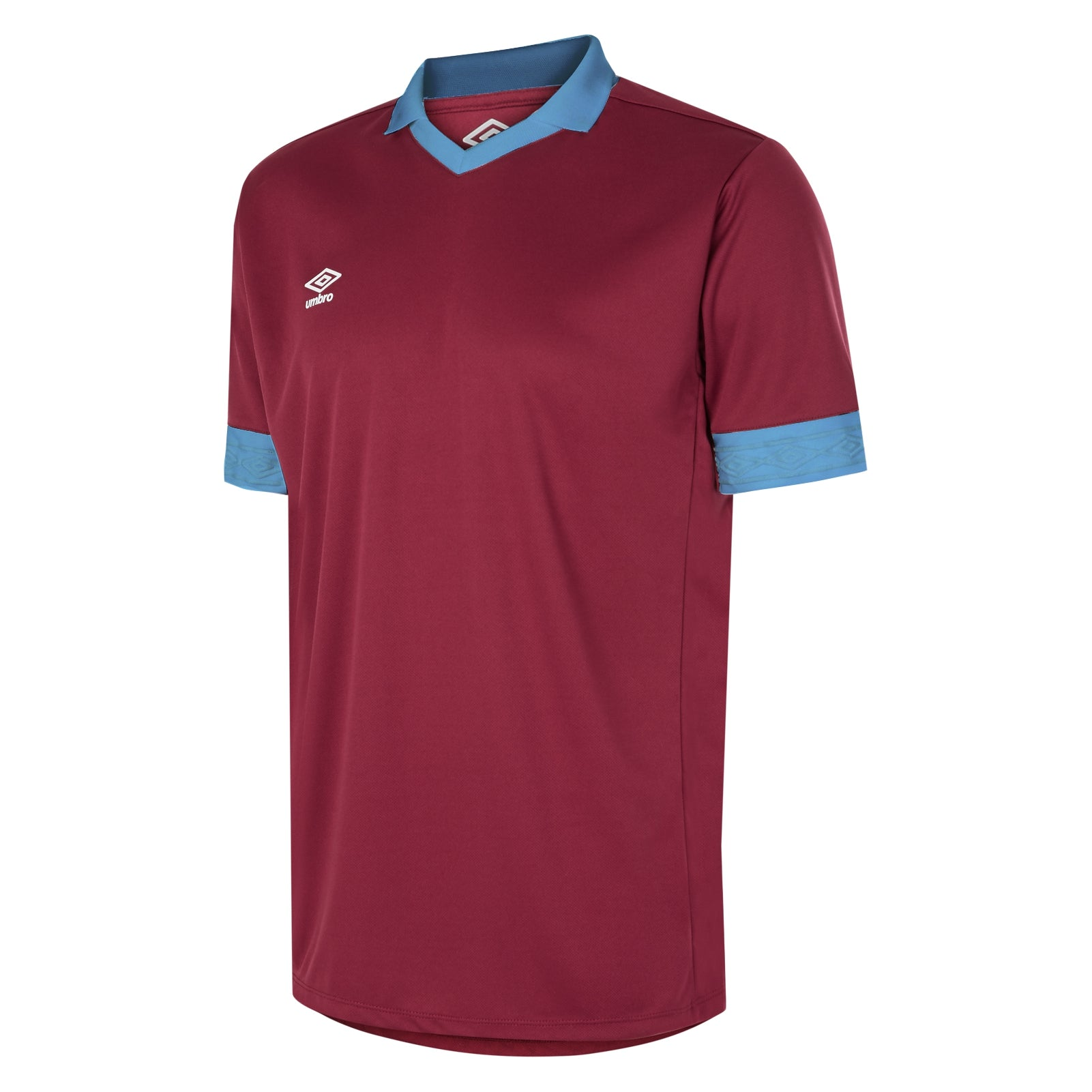 Umbro Tempest jersey short sleeve in new claret with contrast sky blue collar and cuff