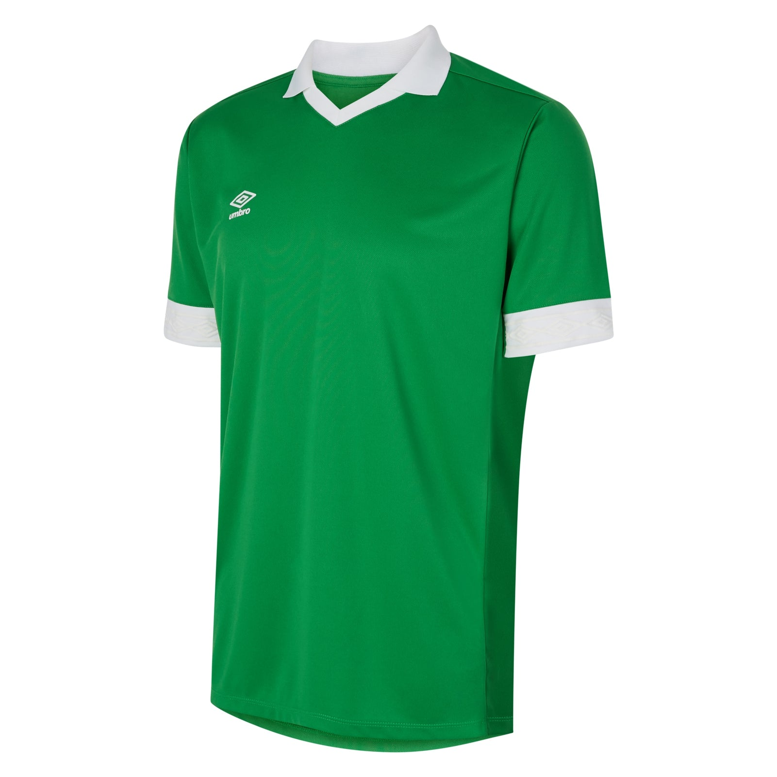 Umbro Tempest jersey short sleeve in emerald green with contrast white collar and cuff