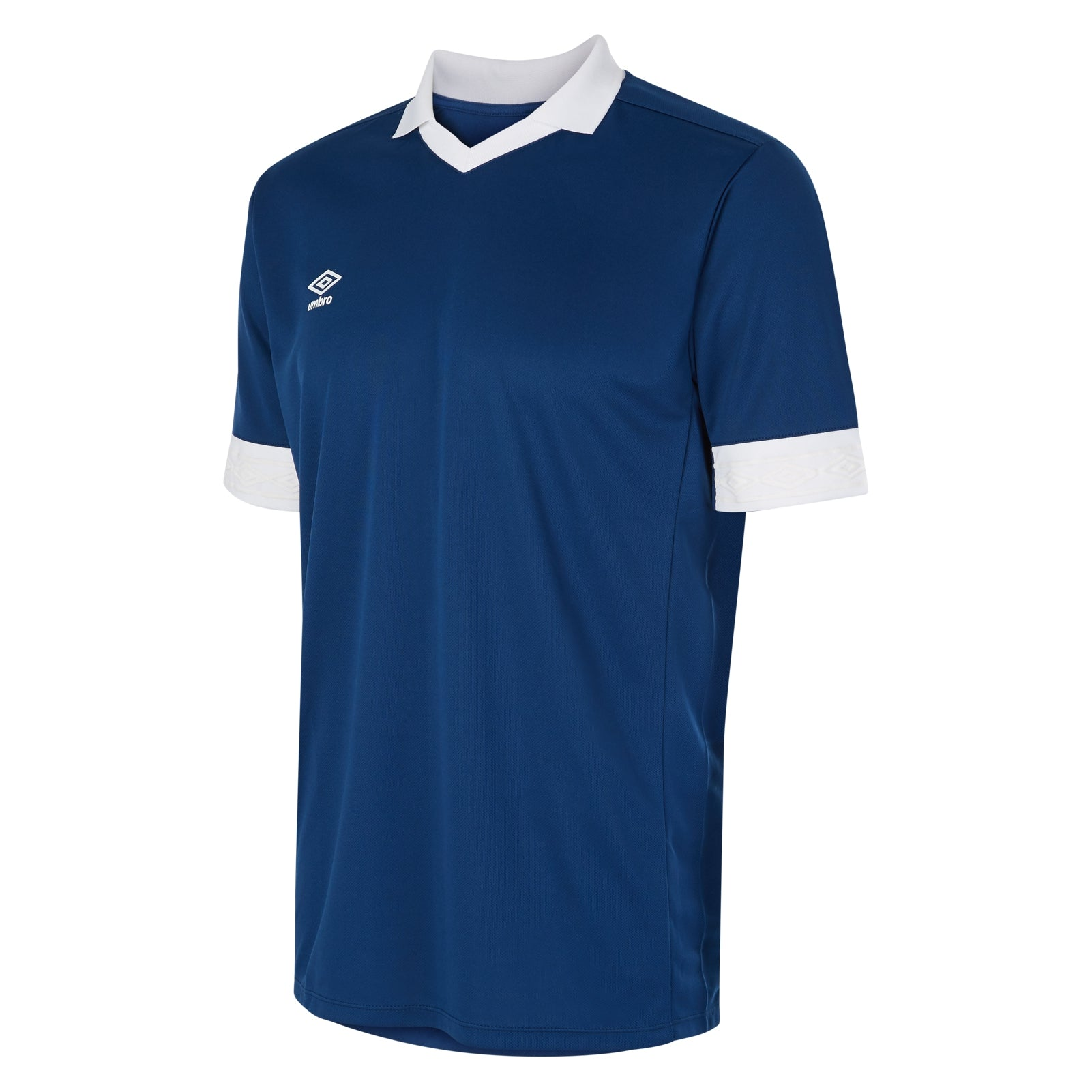 Umbro Tempest jersey short sleeve in navy with contrast white collar and cuff