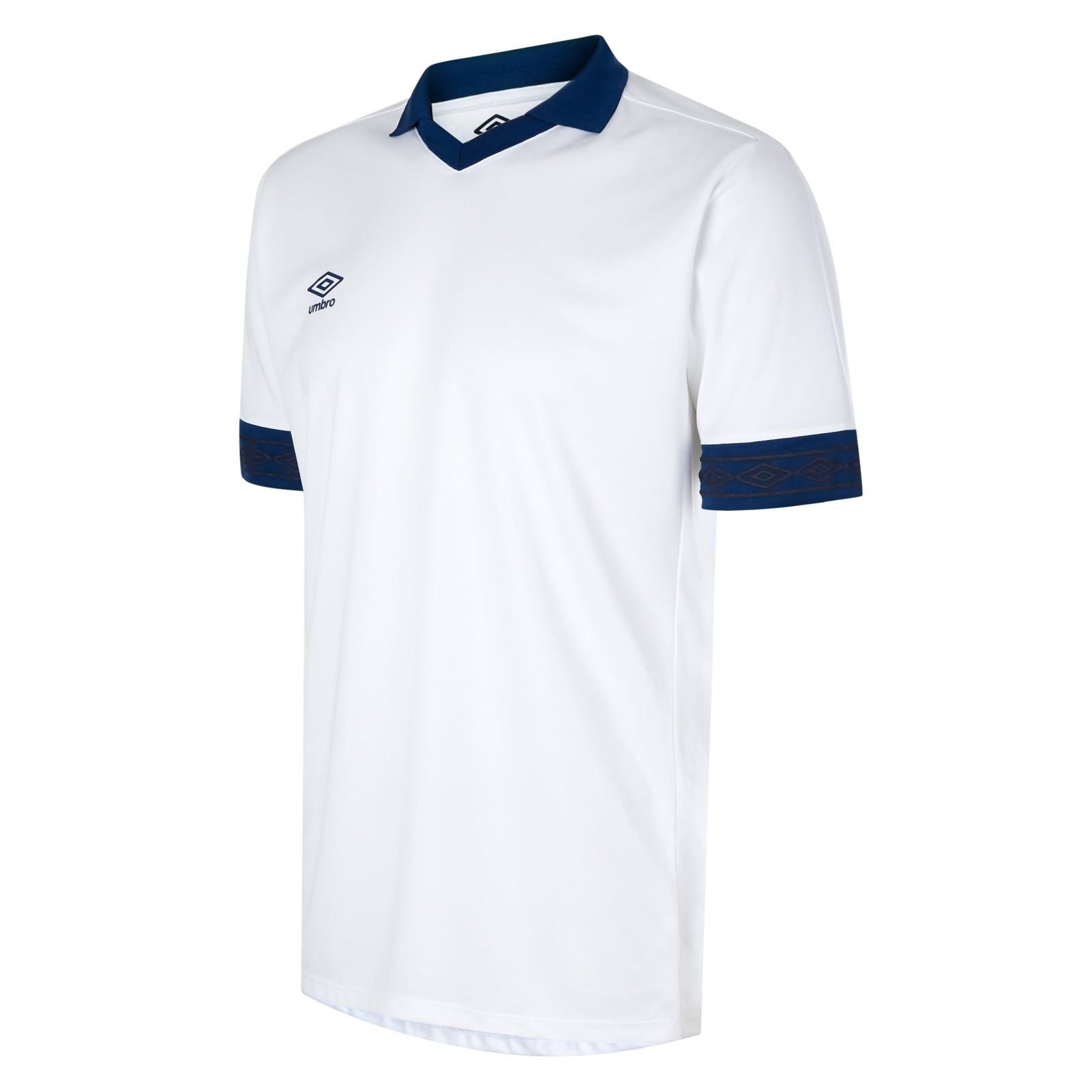 Umbro Tempest jersey short sleeve in white with contrast navy collar and cuff