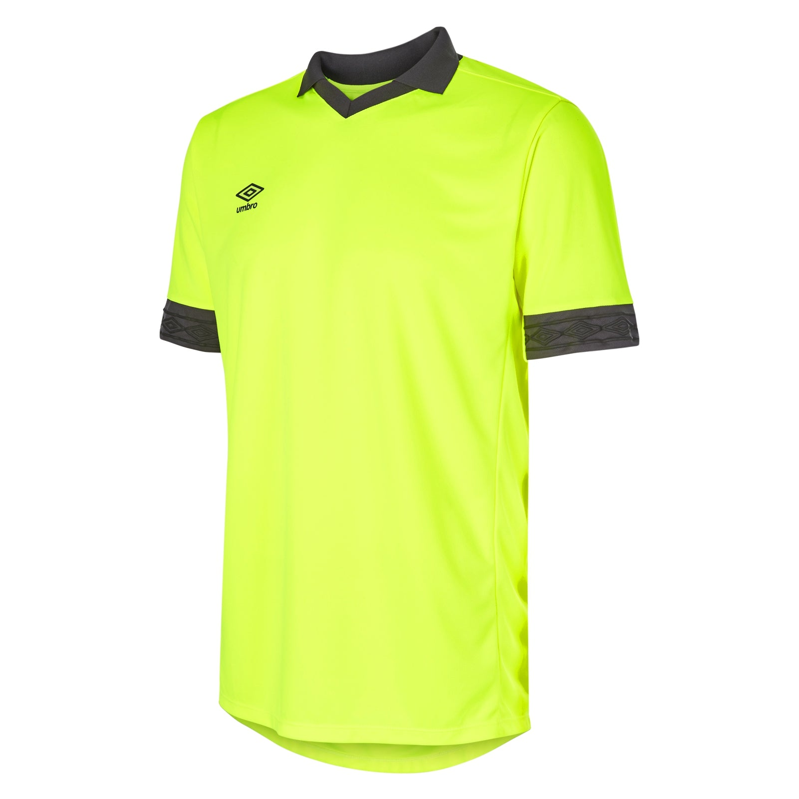 Umbro Tempest jersey short sleeve in fluorescent safety yellow with contrast carbon collar and cuff