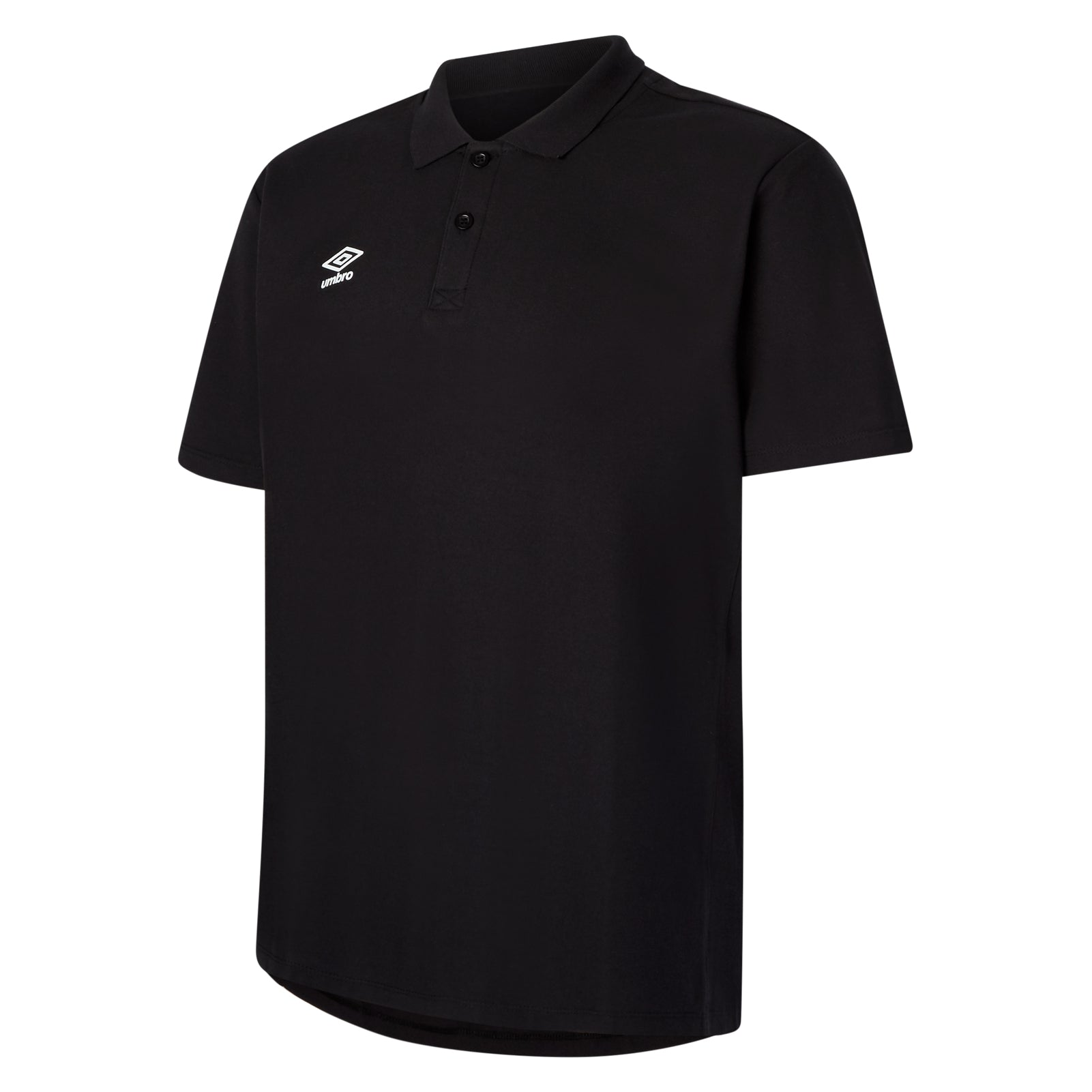 Umbro Club Essential Polo in black with white Umbro stacked Diamond logo on right chest
