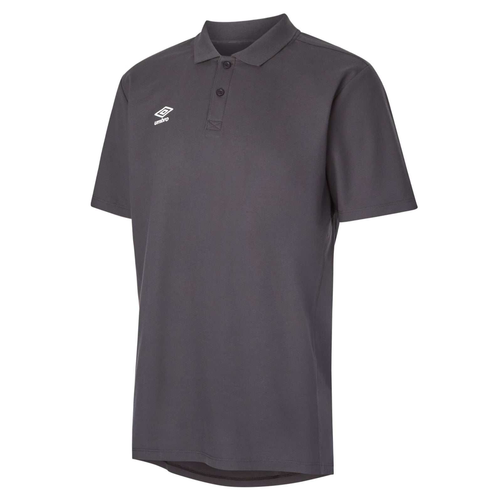 Umbro Club Essential Polo in carbon with white Umbro Diamond logo on right chest