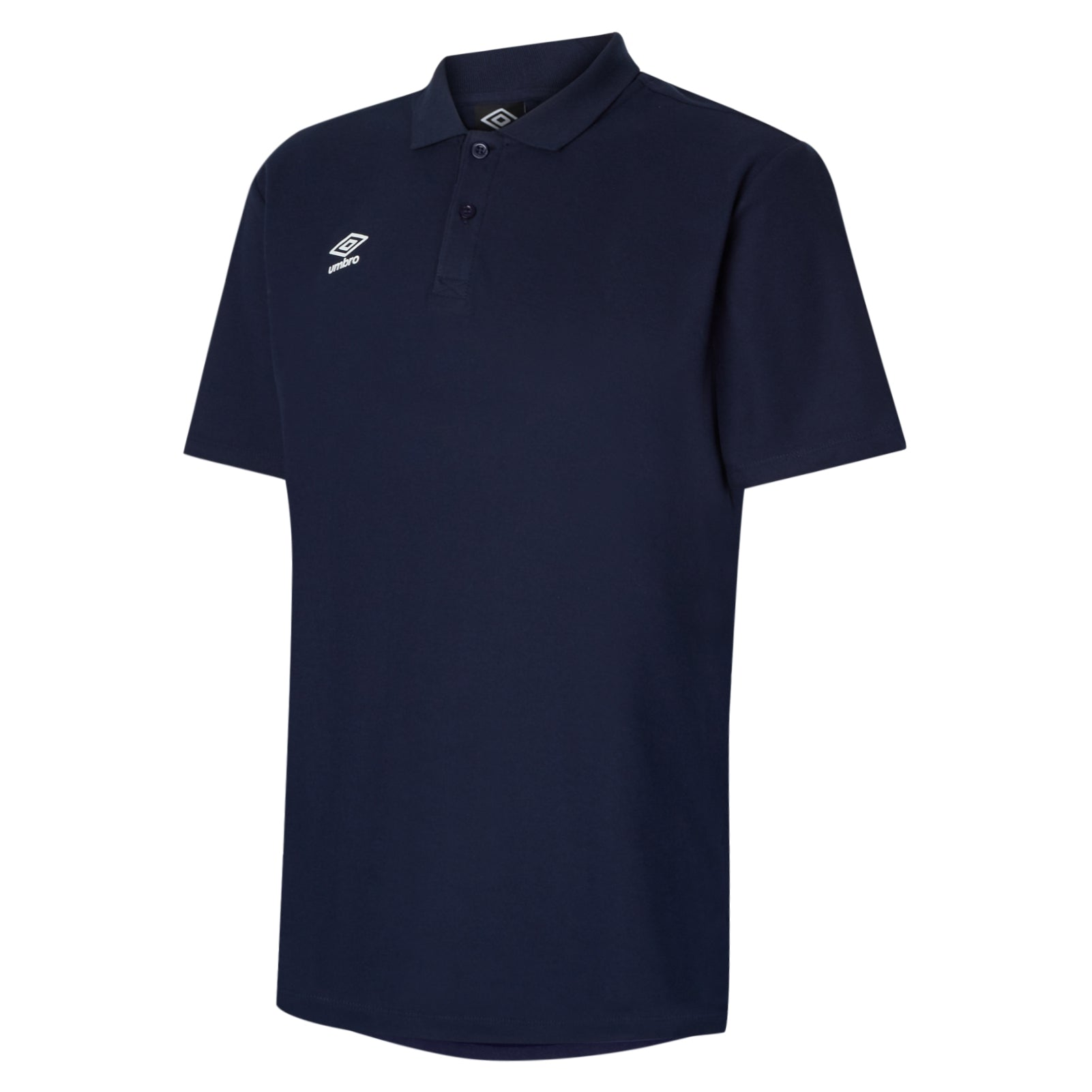 Umbro Club Essential Polo in Dark navy with white Umbro Diamond logo on right chest