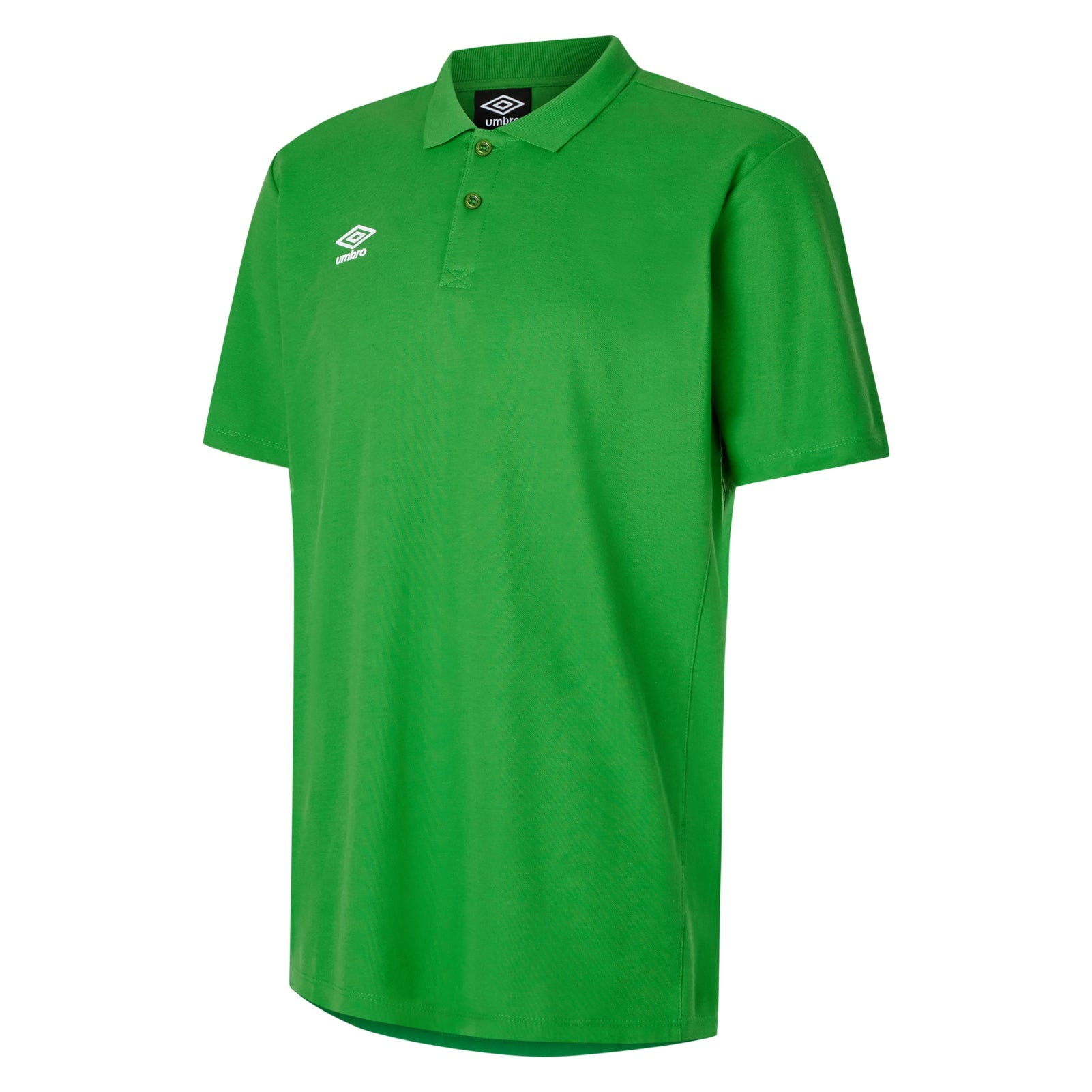 Umbro Club Essential Polo in emerald green with white Umbro Diamond logo on right chest