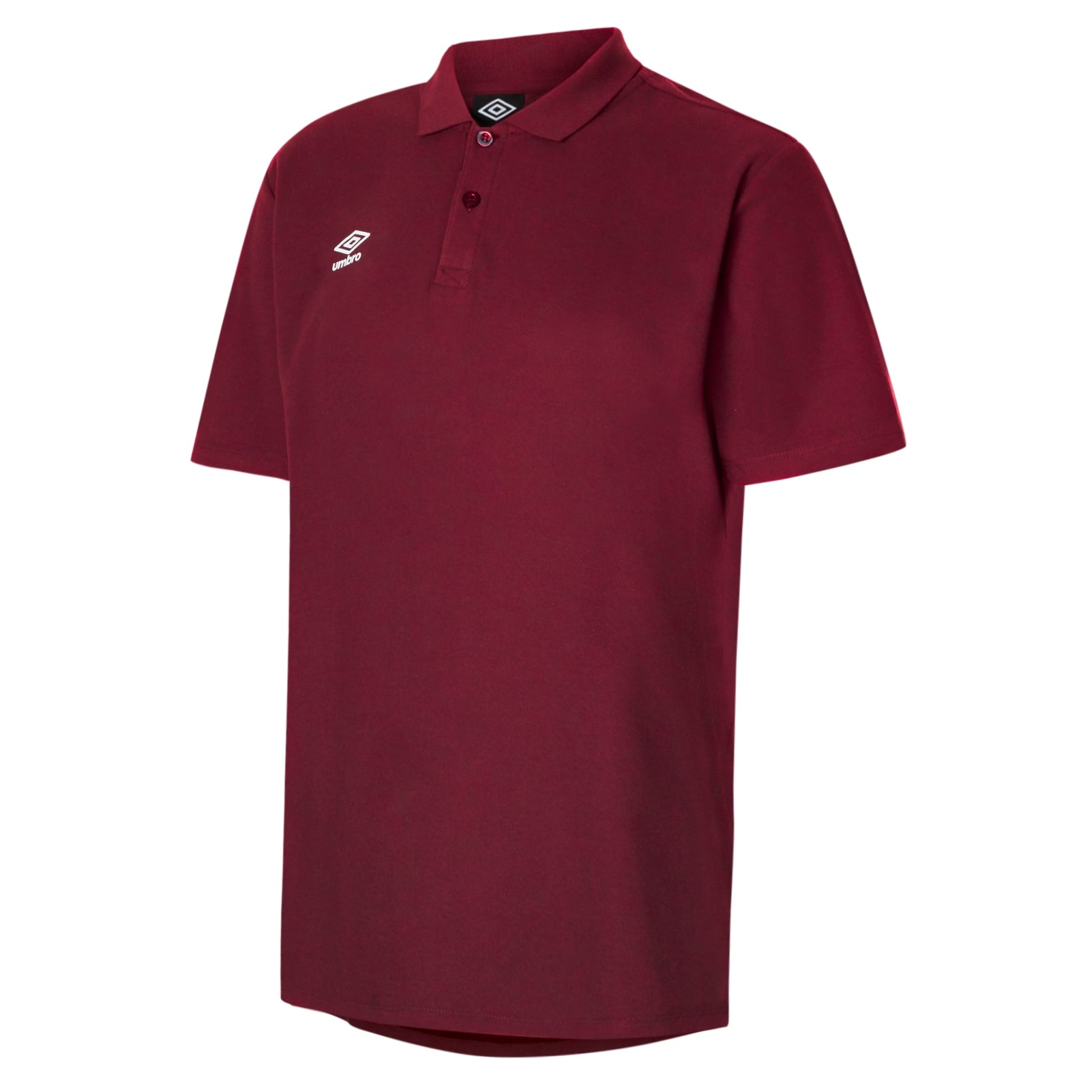 Umbro Club Essential Polo in new claret with white Umbro Diamond logo on right chest