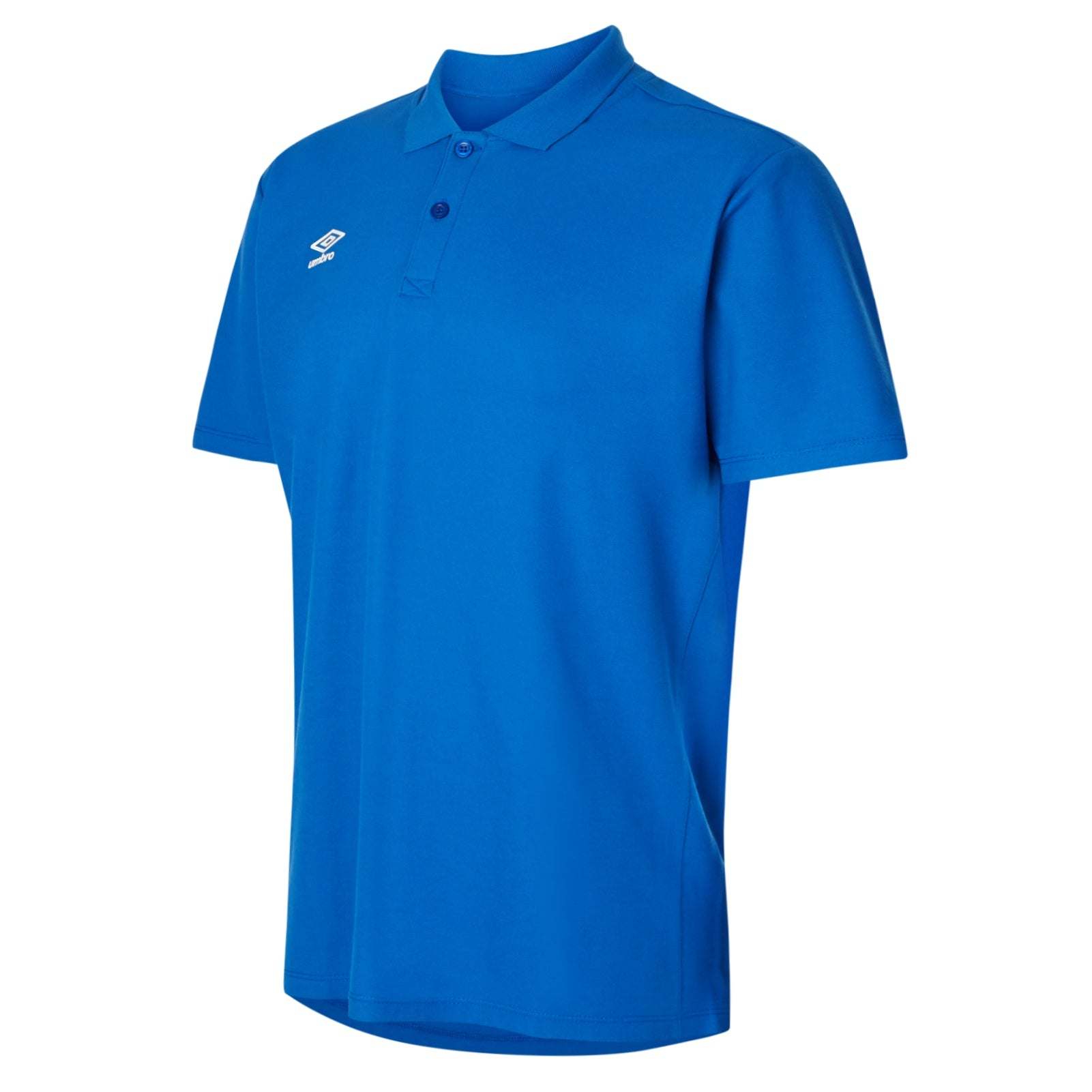 Umbro Club Essential Polo in TW royal with white Umbro Diamond logo on right chest