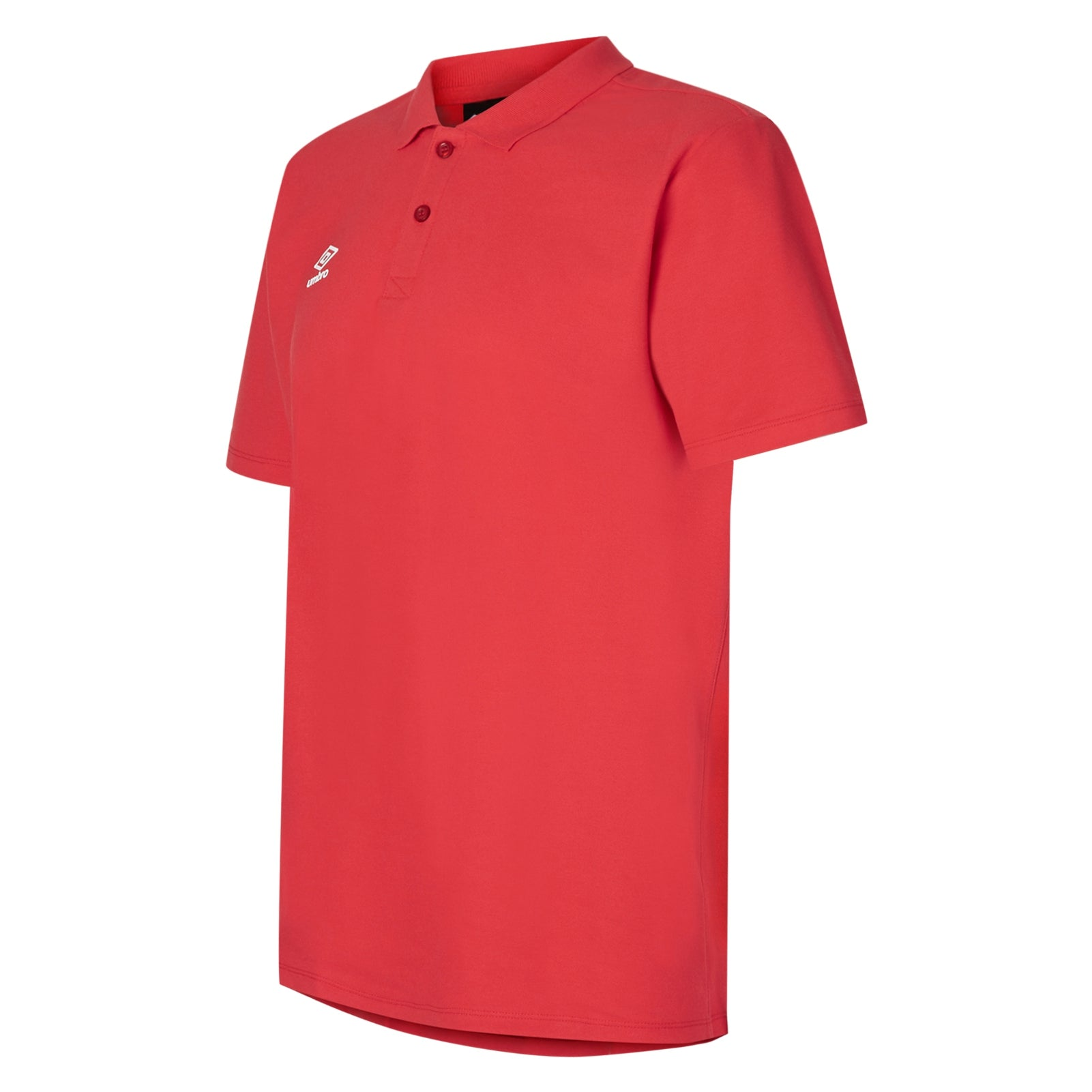 Umbro Club Essential Polo in vemillion (red) with white Umbro Diamond logo on right chest