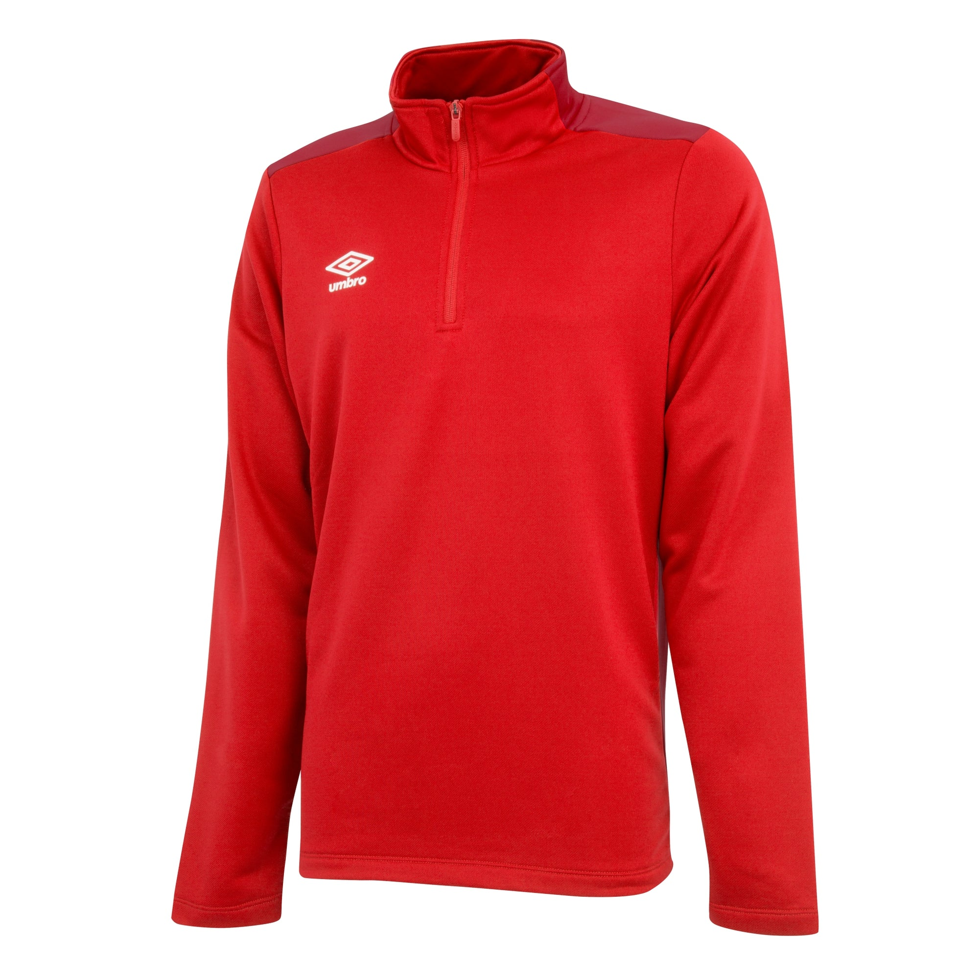 Umbro 1/2 zip top in vermillion/jester red.