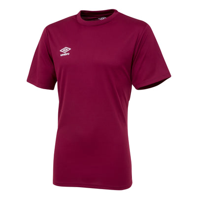 Umbro short sleeve club jersey in new claret with white printed Umbro logo