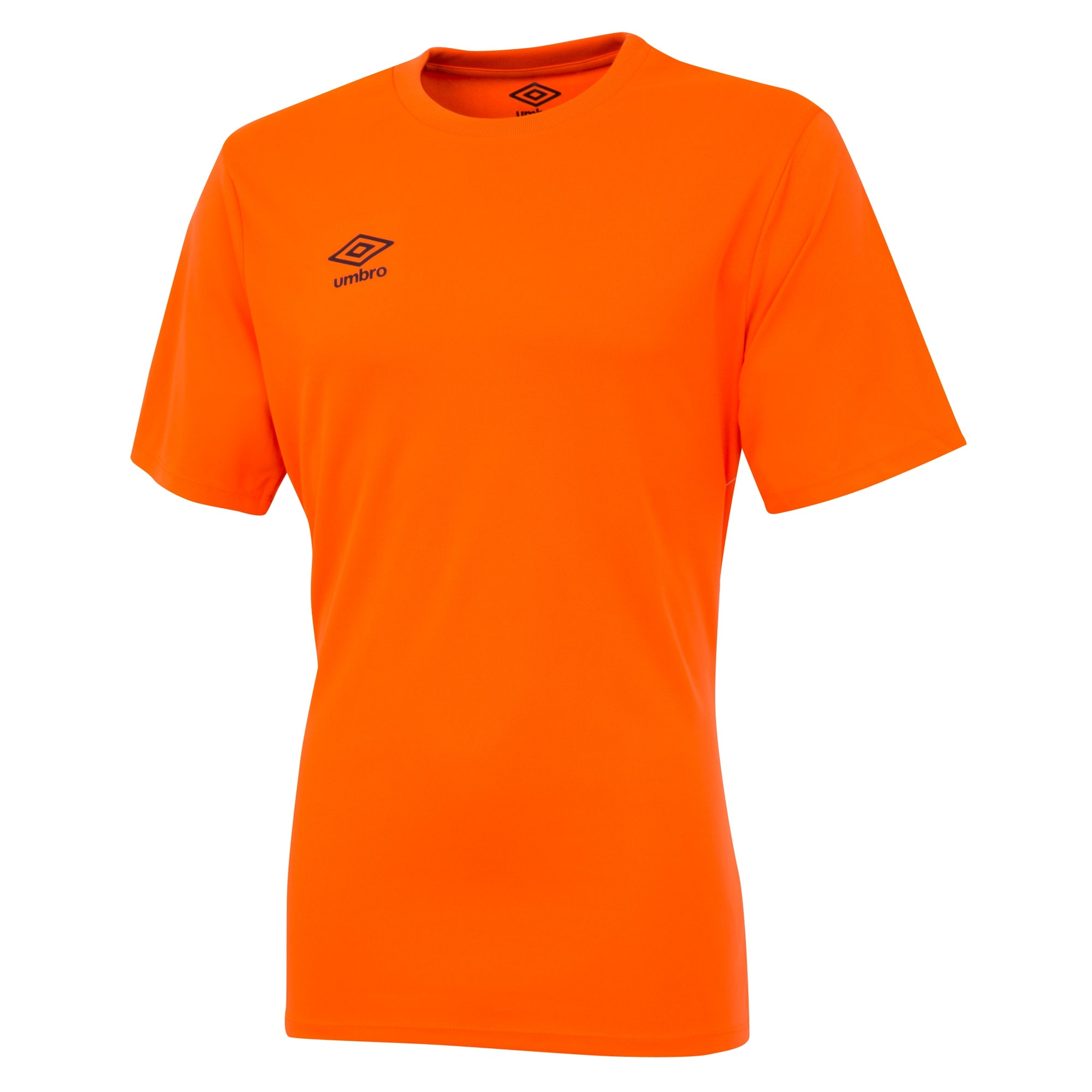 Umbro short sleeve club jersey in shocking orange with black printed Umbro logo