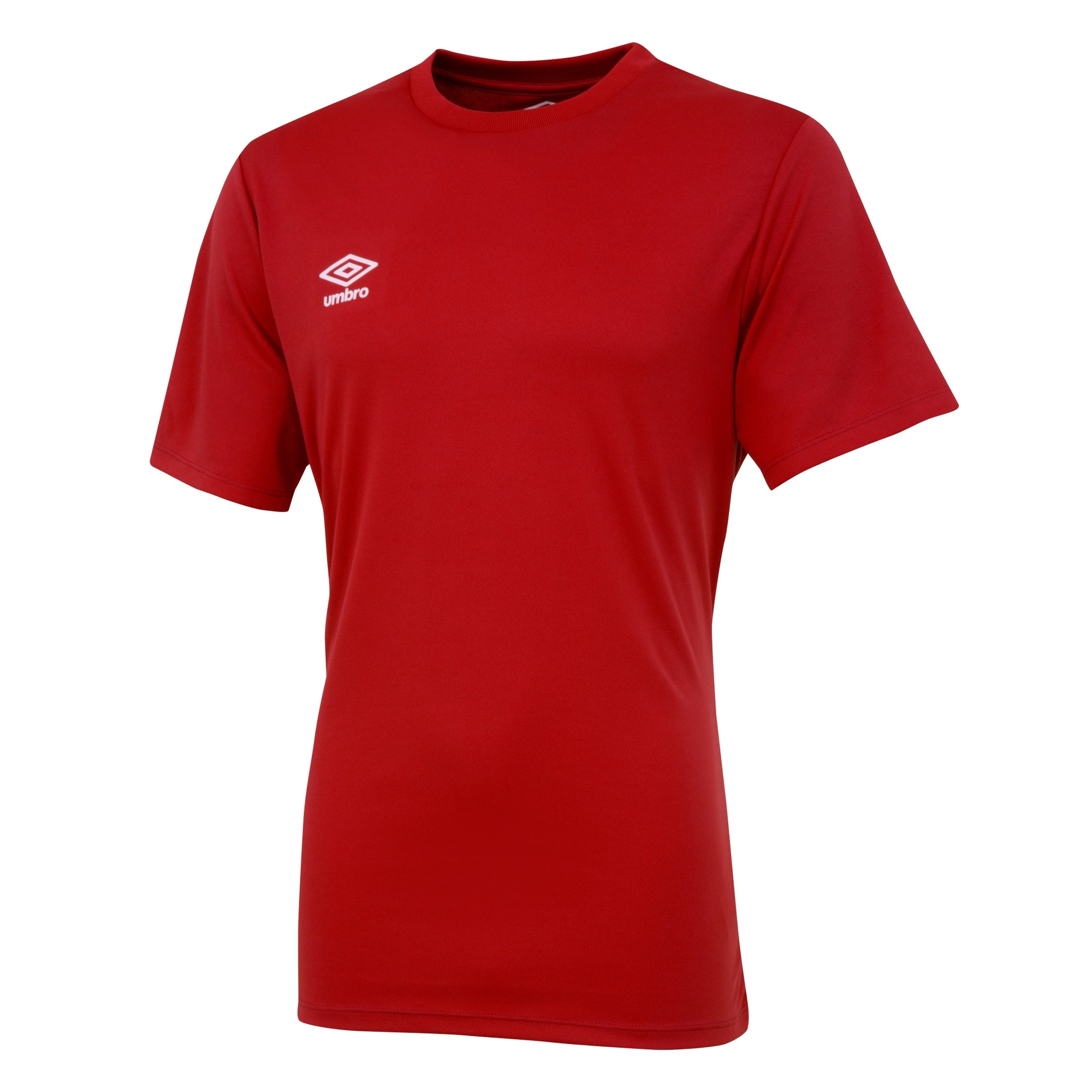 Umbro short sleeve club jersey in vermillion (red) with white printed Umbro logo