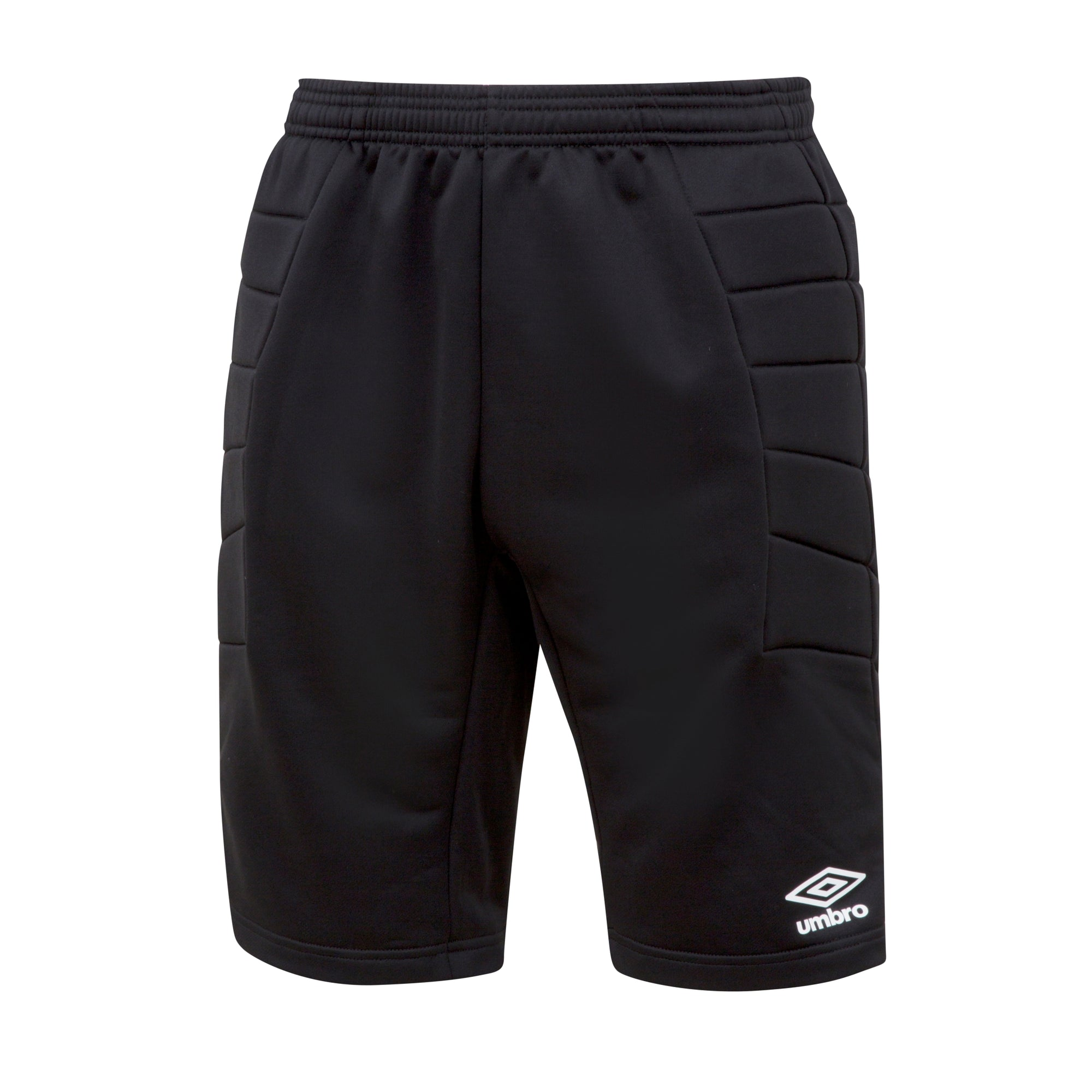 Umbro GK padded short in black with white Umbro logo on left leg