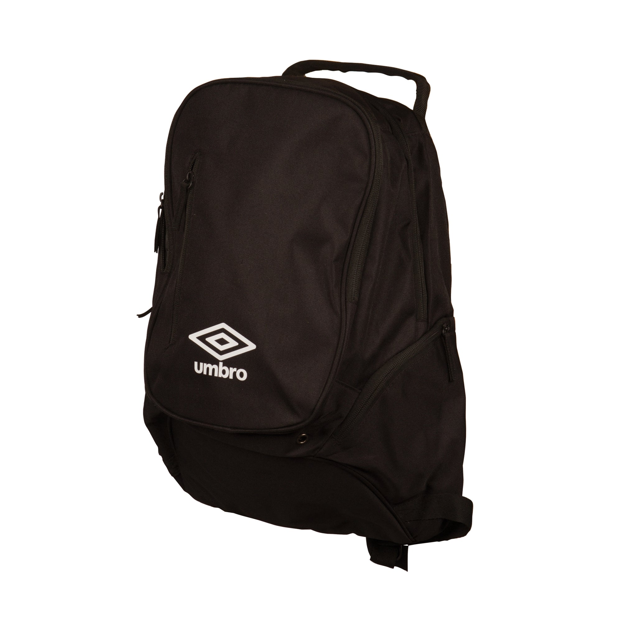 Umbro Large Backpack in black with white Logo to the front. 2 side pockets.