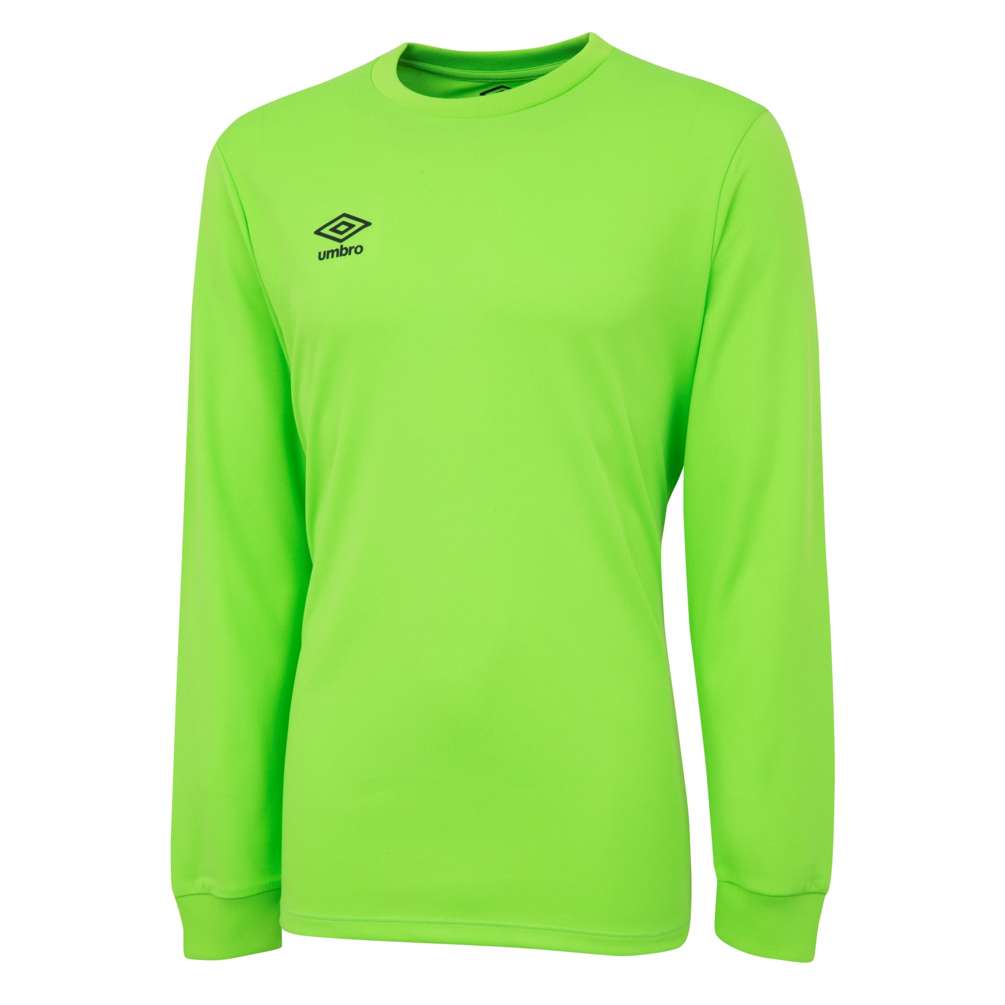Umbro long sleeve club jersey in Gecko green with black printed Umbro logo
